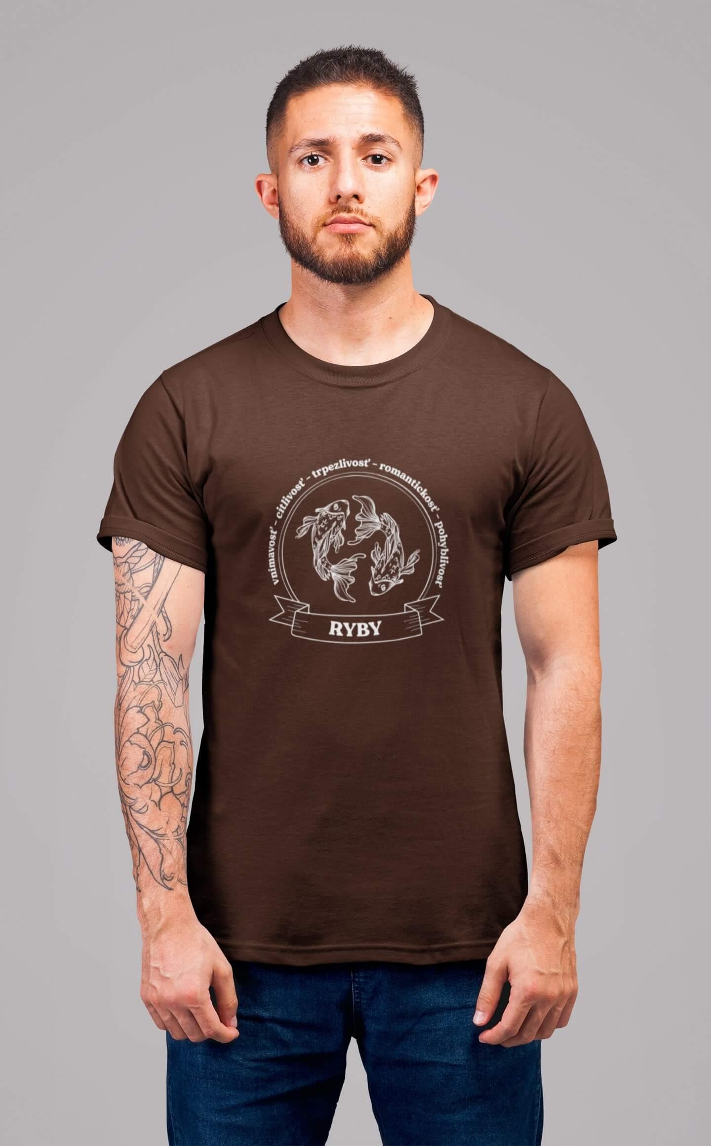 MMO Pánske tričko Ryby Vyberte farbu: Čokoládová, Vyberte veľkosť: XL