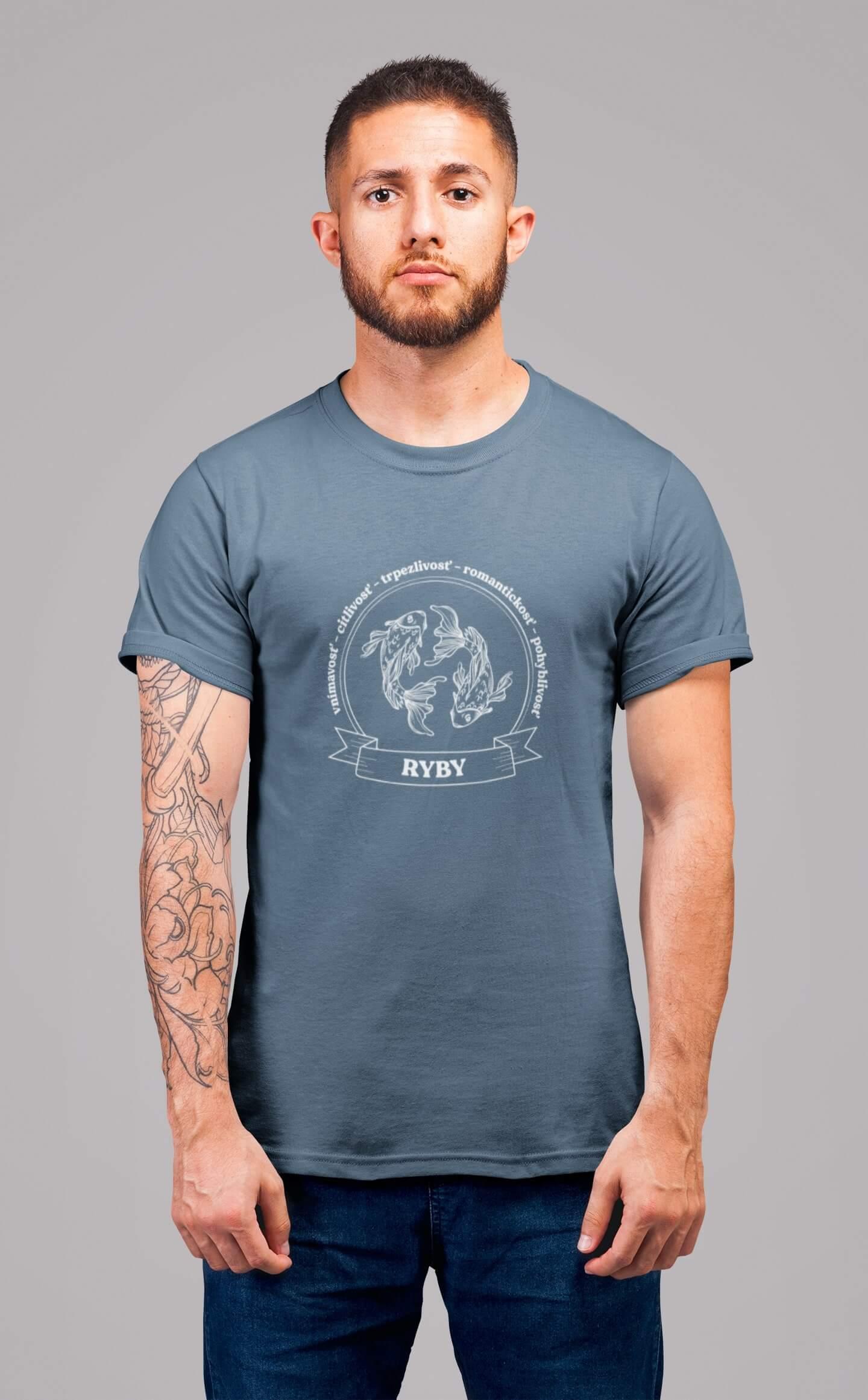 MMO Pánske tričko Ryby Vyberte farbu: Denim, Vyberte veľkosť: XS