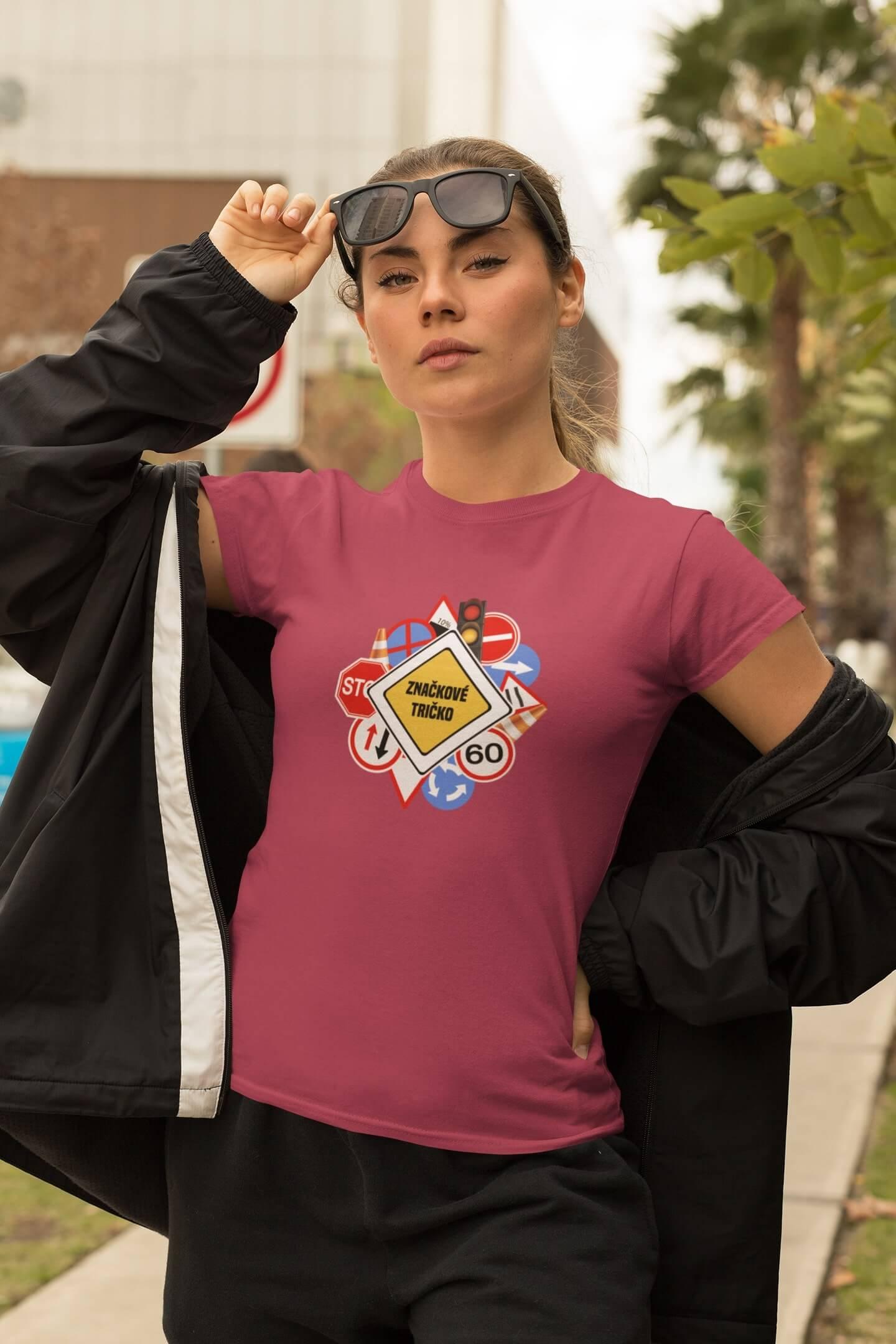 MMO Dámske tričko Značkové tričko Vyberte farbu: Purpurová, Vyberte veľkosť: XL