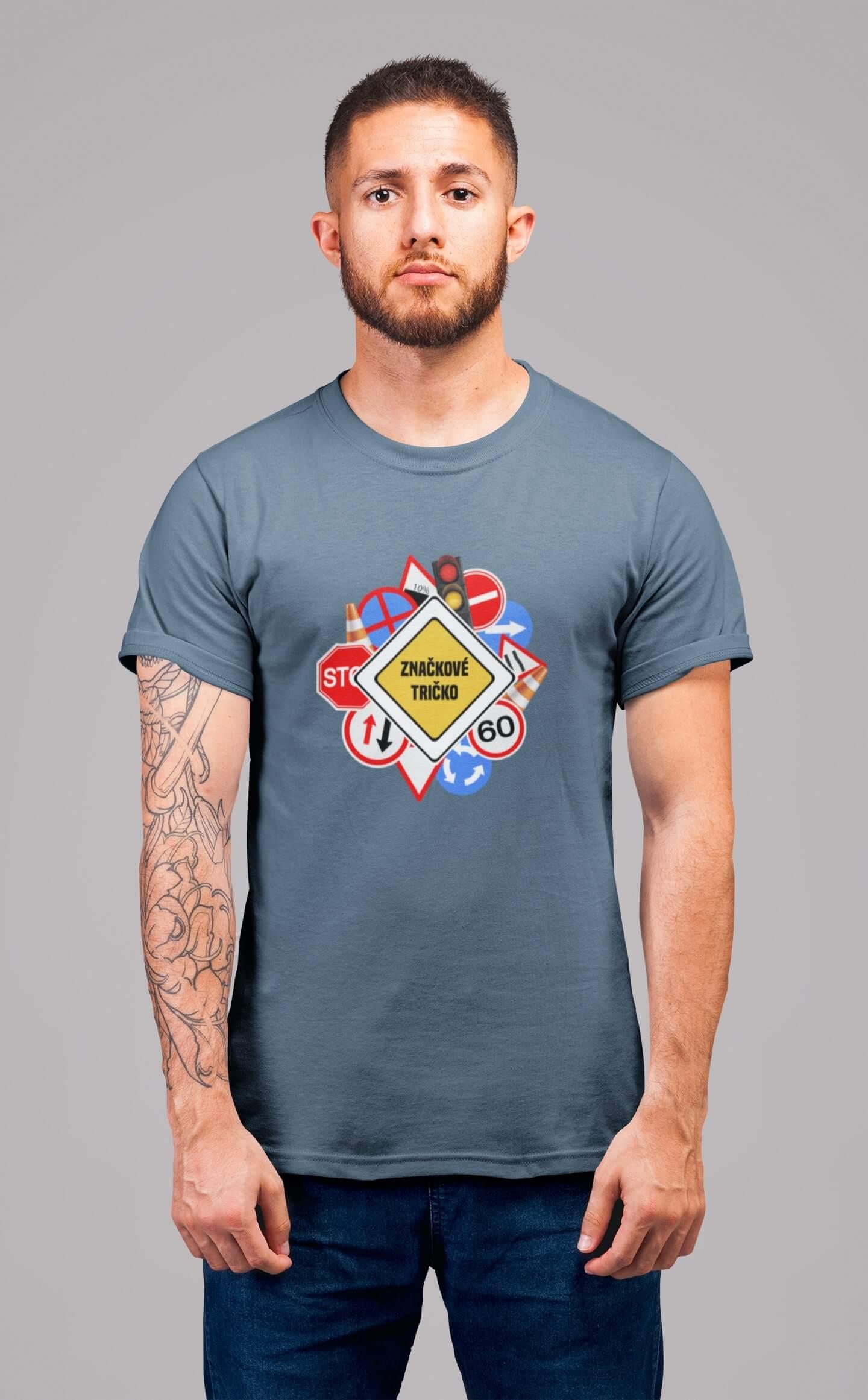 MMO Pánske tričko Značkové tričko Vyberte farbu: Denim, Vyberte veľkosť: XS