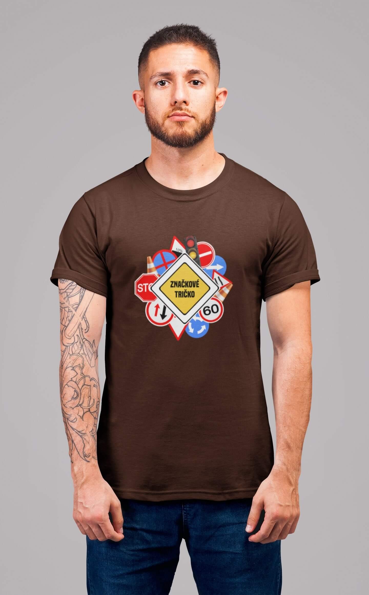 MMO Pánske tričko Značkové tričko Vyberte farbu: Čokoládová, Vyberte veľkosť: XL