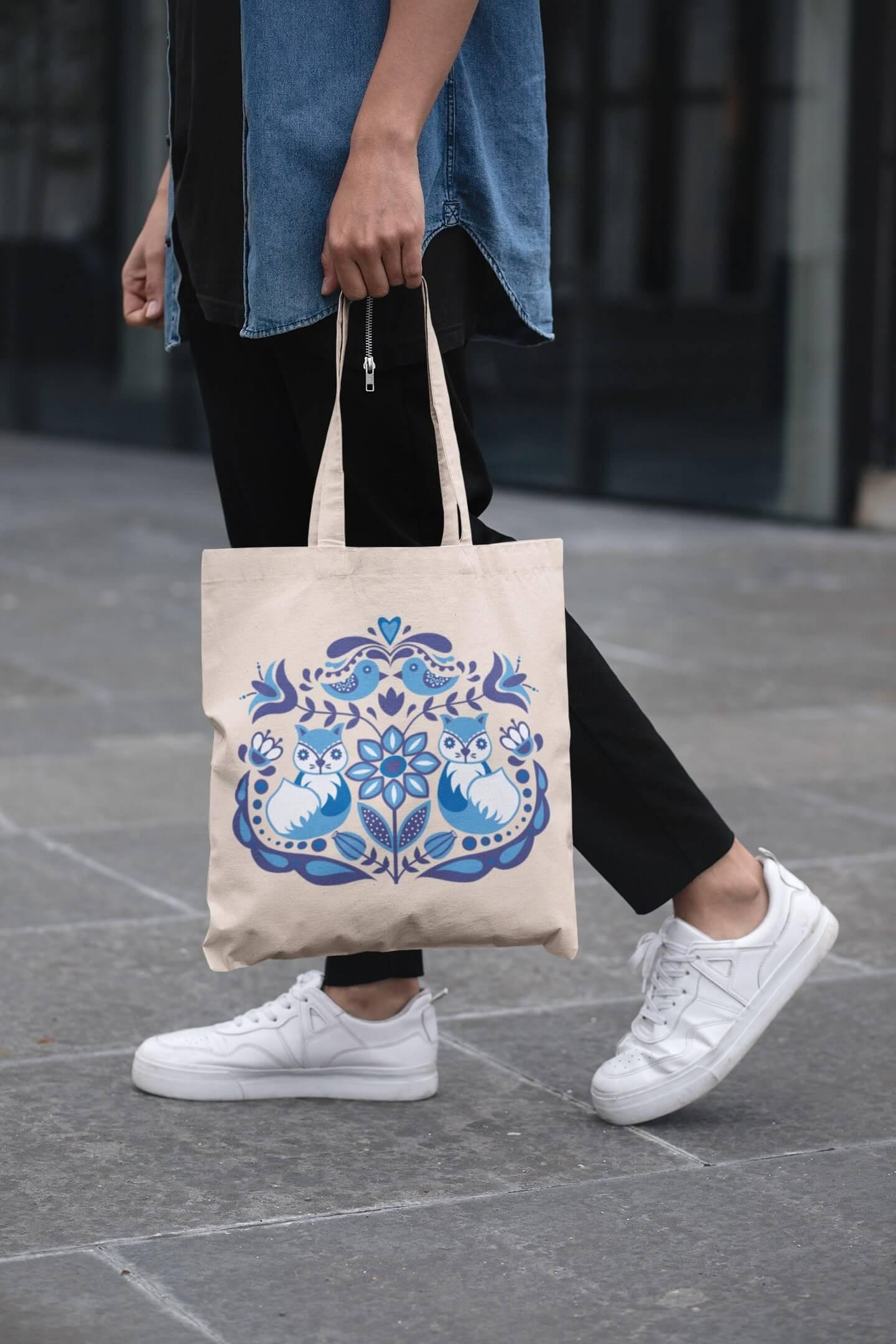 MMO Bavlnená taška s ľudovým motívom Farba tašky: Béžová