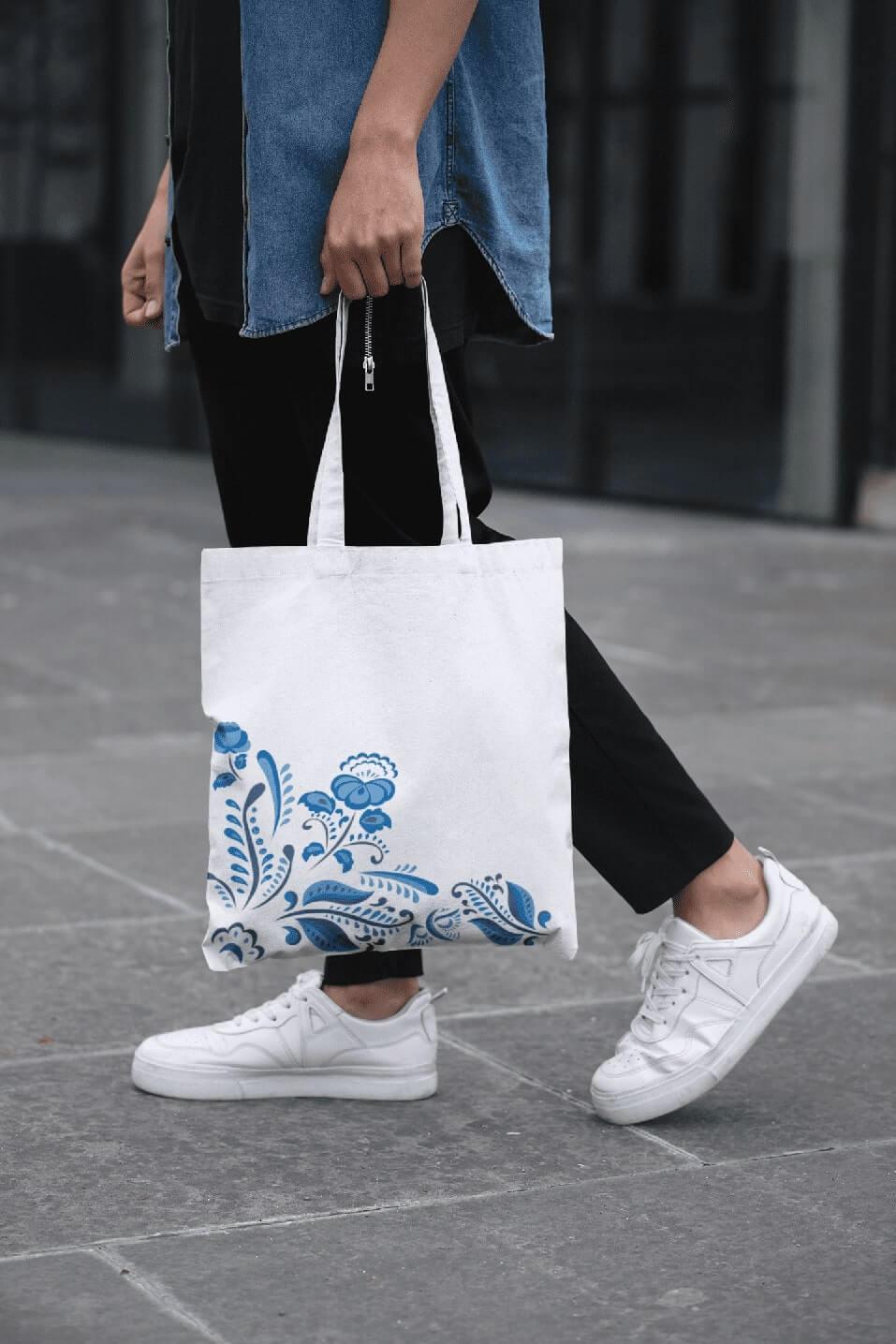MMO Bavlnená taška s ľudovým motívom Farba tašky: Biela