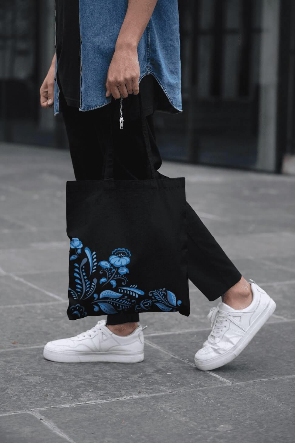 MMO Bavlnená taška s ľudovým motívom Farba tašky: Čierna