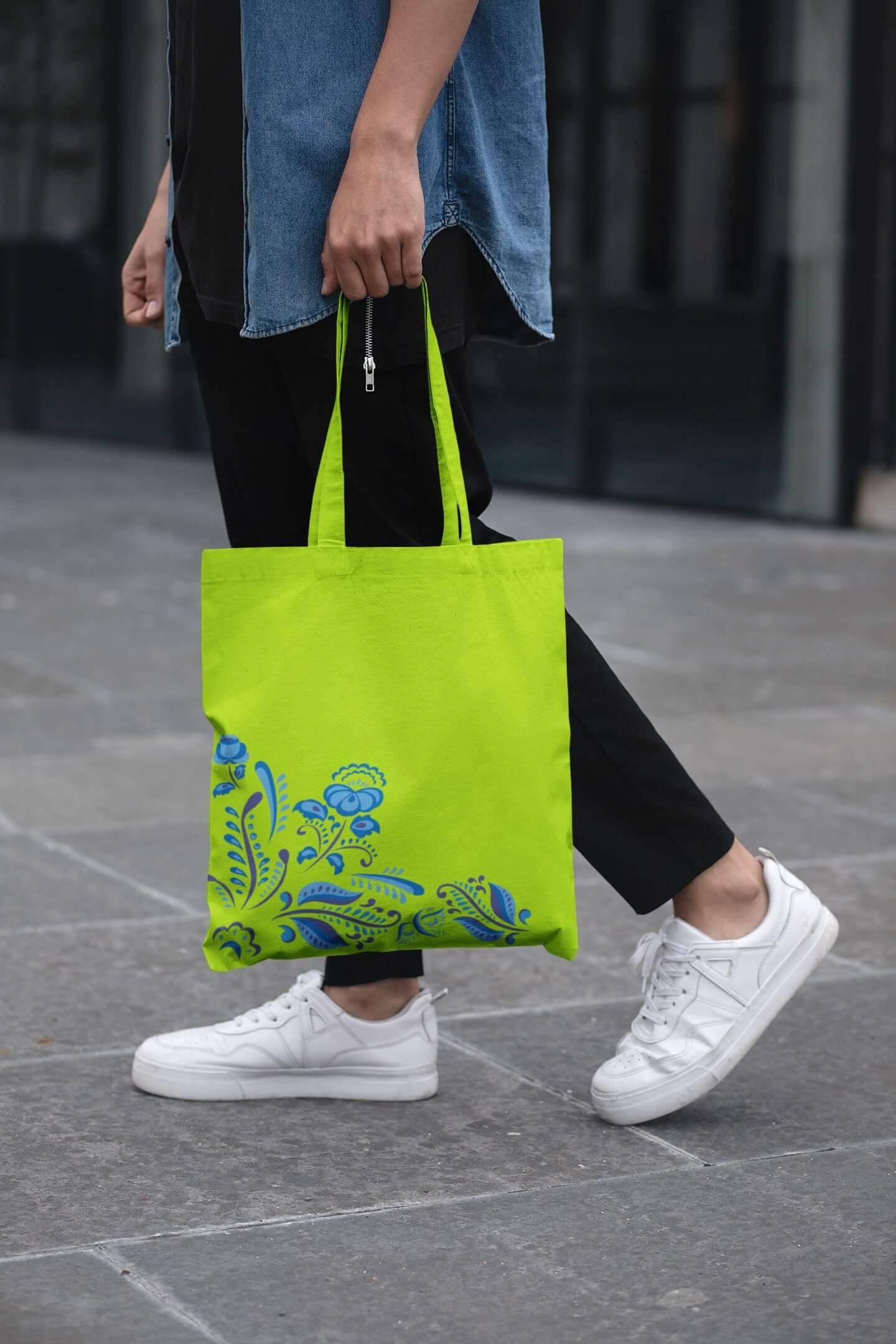 MMO Bavlnená taška s ľudovým motívom Farba tašky: Limetková