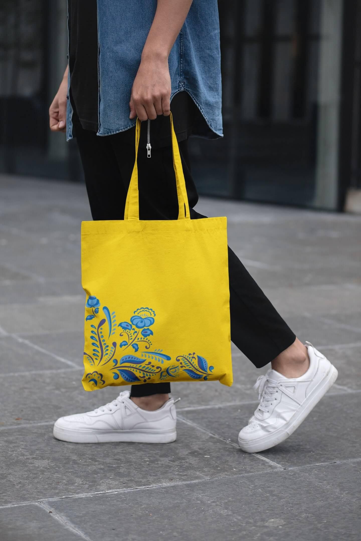 MMO Bavlnená taška s ľudovým motívom Farba tašky: Žltá