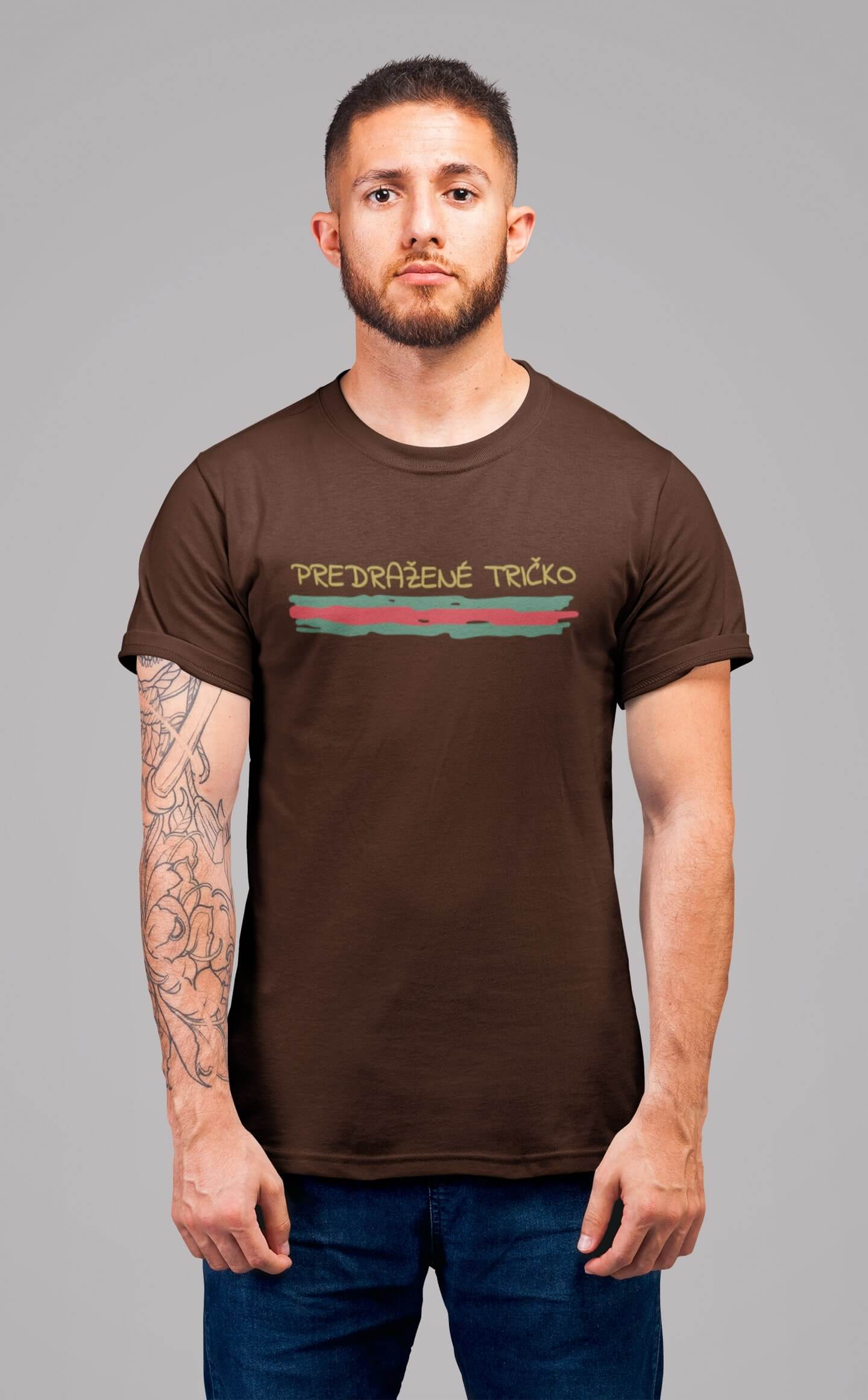MMO Pánske tričko Predražené tričko Vyberte farbu: Čokoládová, Vyberte veľkosť: XL
