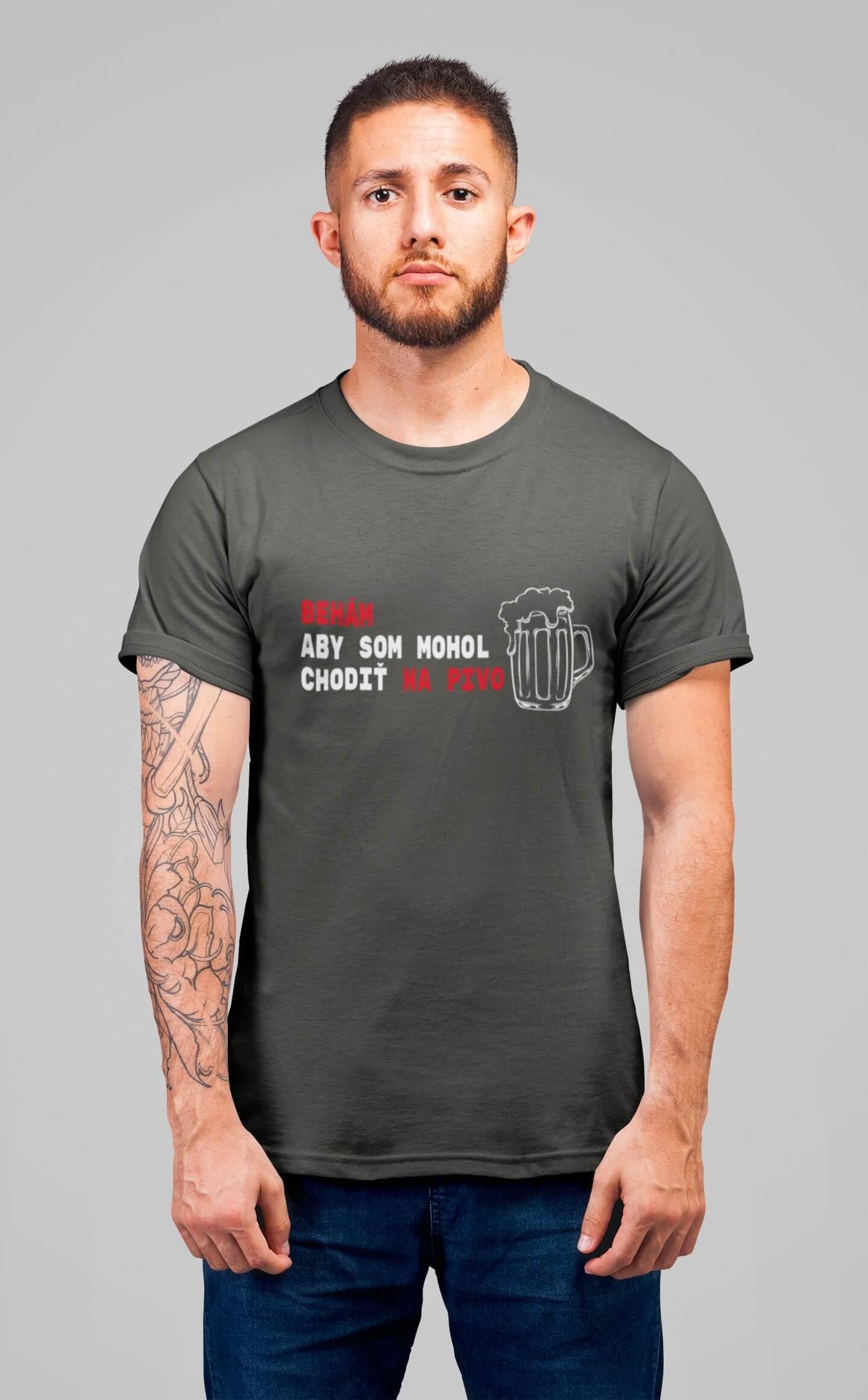MMO Pánske tričko Behám Vyberte farbu: Tmavá bridlica, Vyberte veľkosť: XL