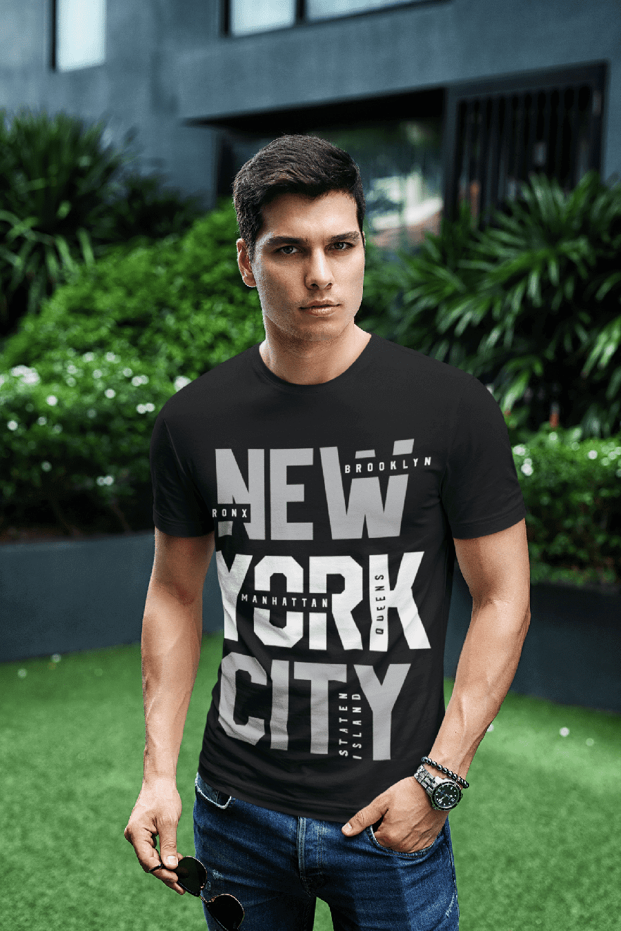 MMO Pánske tričko New York City Vyberte farbu: Čierna, Vyberte veľkosť: M