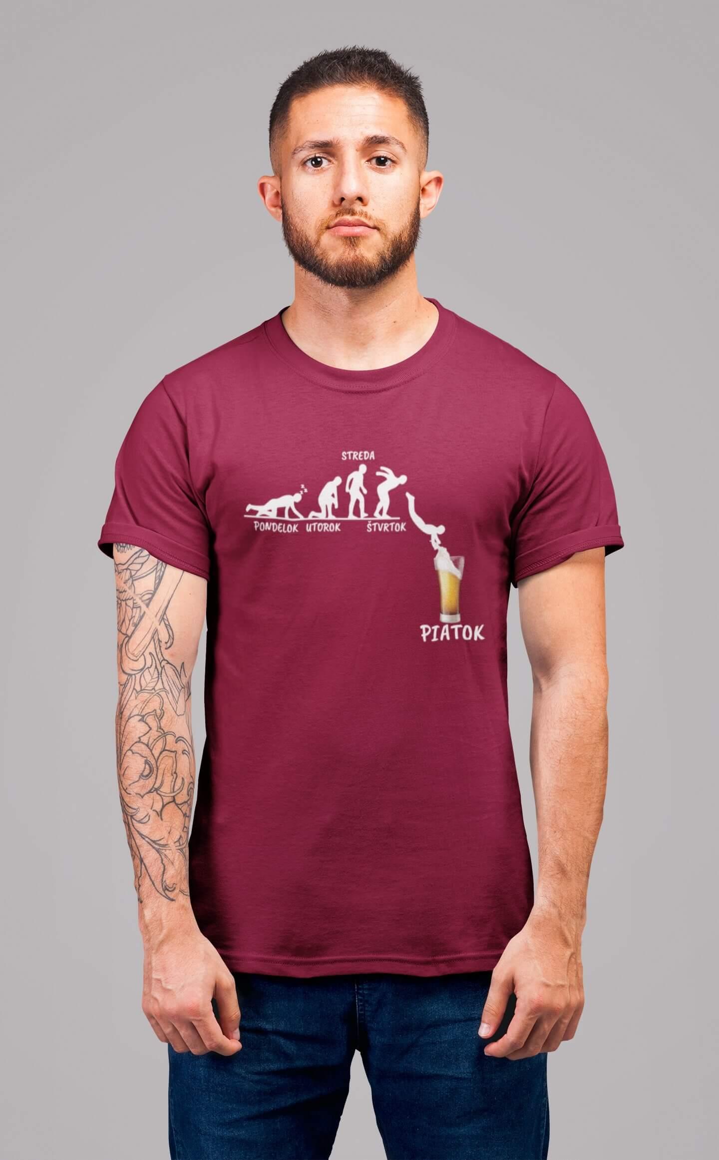 MMO Pánske tričko Týždeň v živote muža Vyberte farbu: Marlboro červená, Vyberte veľkosť: M