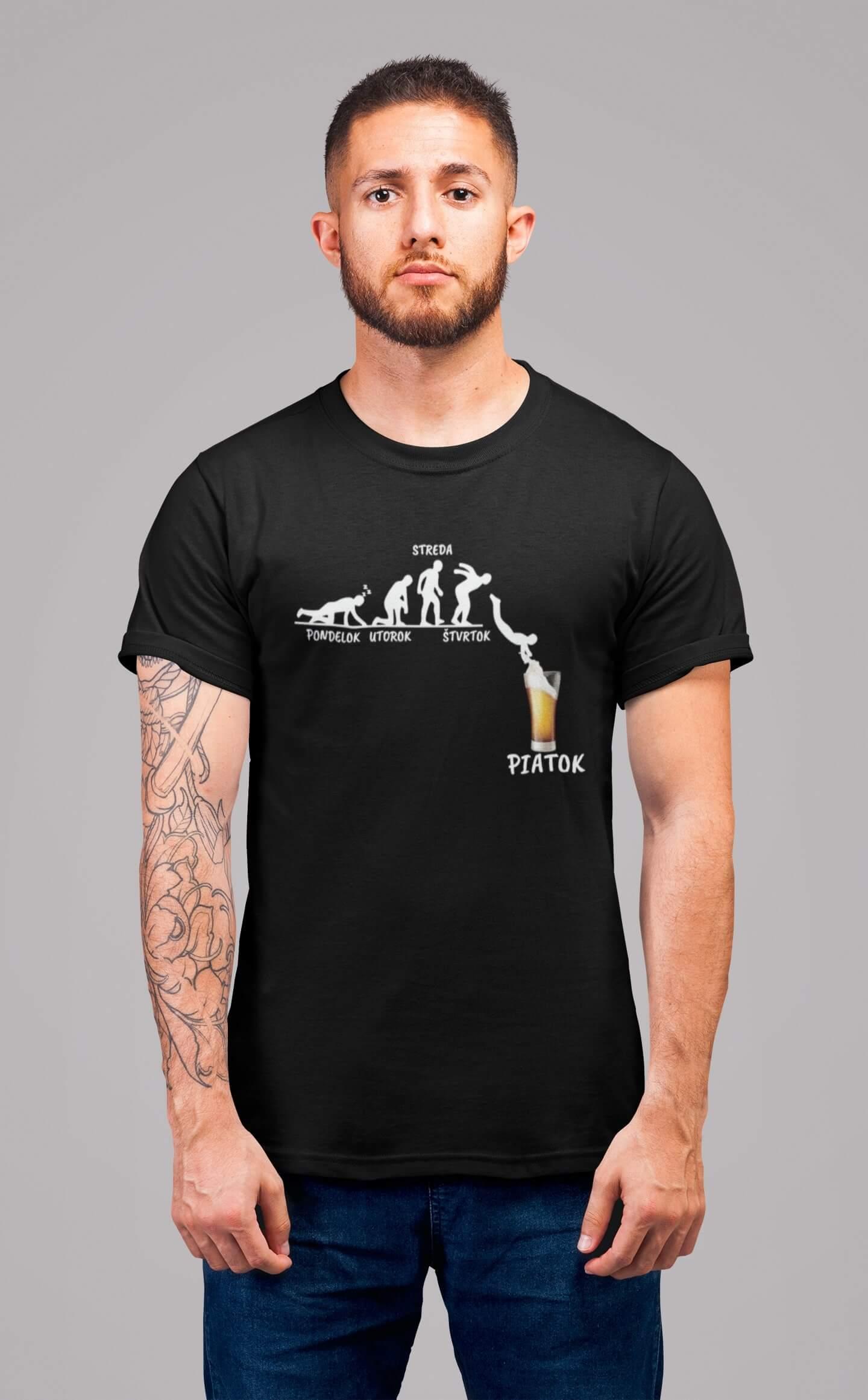 MMO Pánske tričko Týždeň v živote muža Vyberte farbu: Čierna, Vyberte veľkosť: L