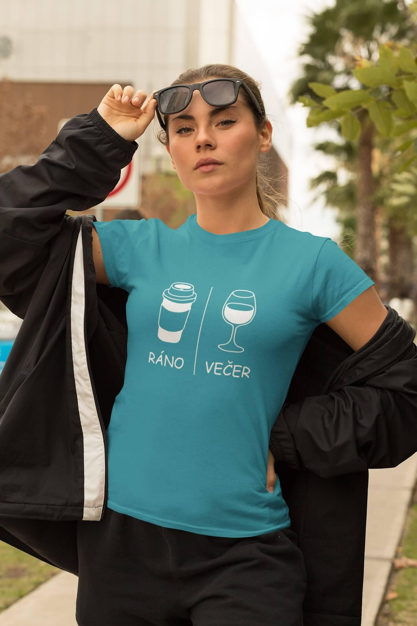 MMO Dámske tričko Ráno/večer Vyberte farbu: Tyrkysová, Vyberte veľkosť: XS