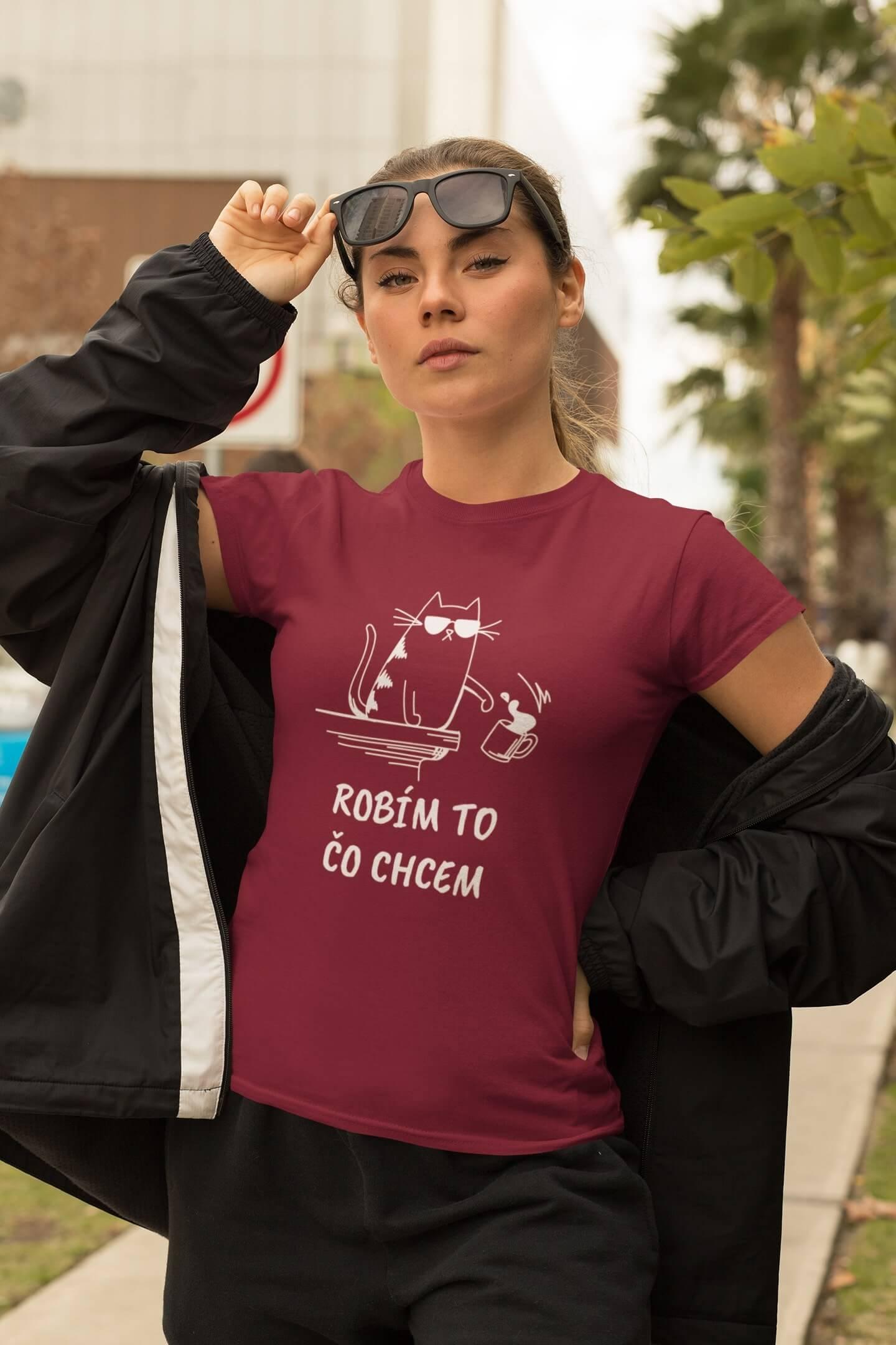 MMO Dámske tričko Robím to čo chcem káva Vyberte farbu:: Marlboro červená, Dámska veľkosť: XS
