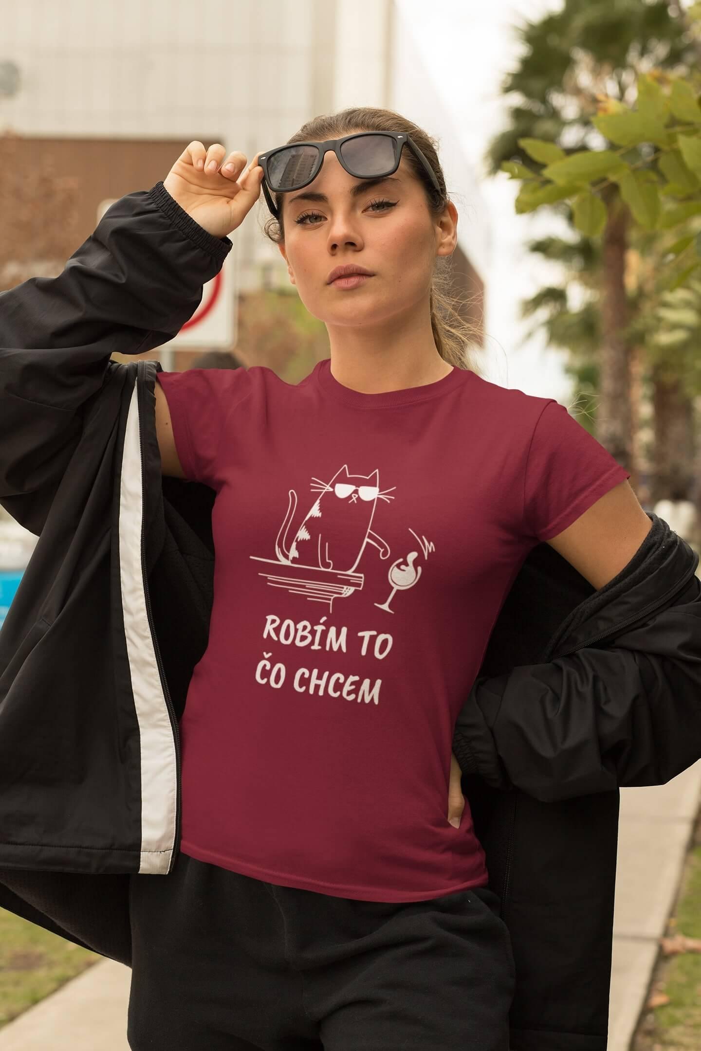 MMO Dámske tričko Robím to čo chcem víno Vyberte farbu:: Marlboro červená, Dámska veľkosť: XS
