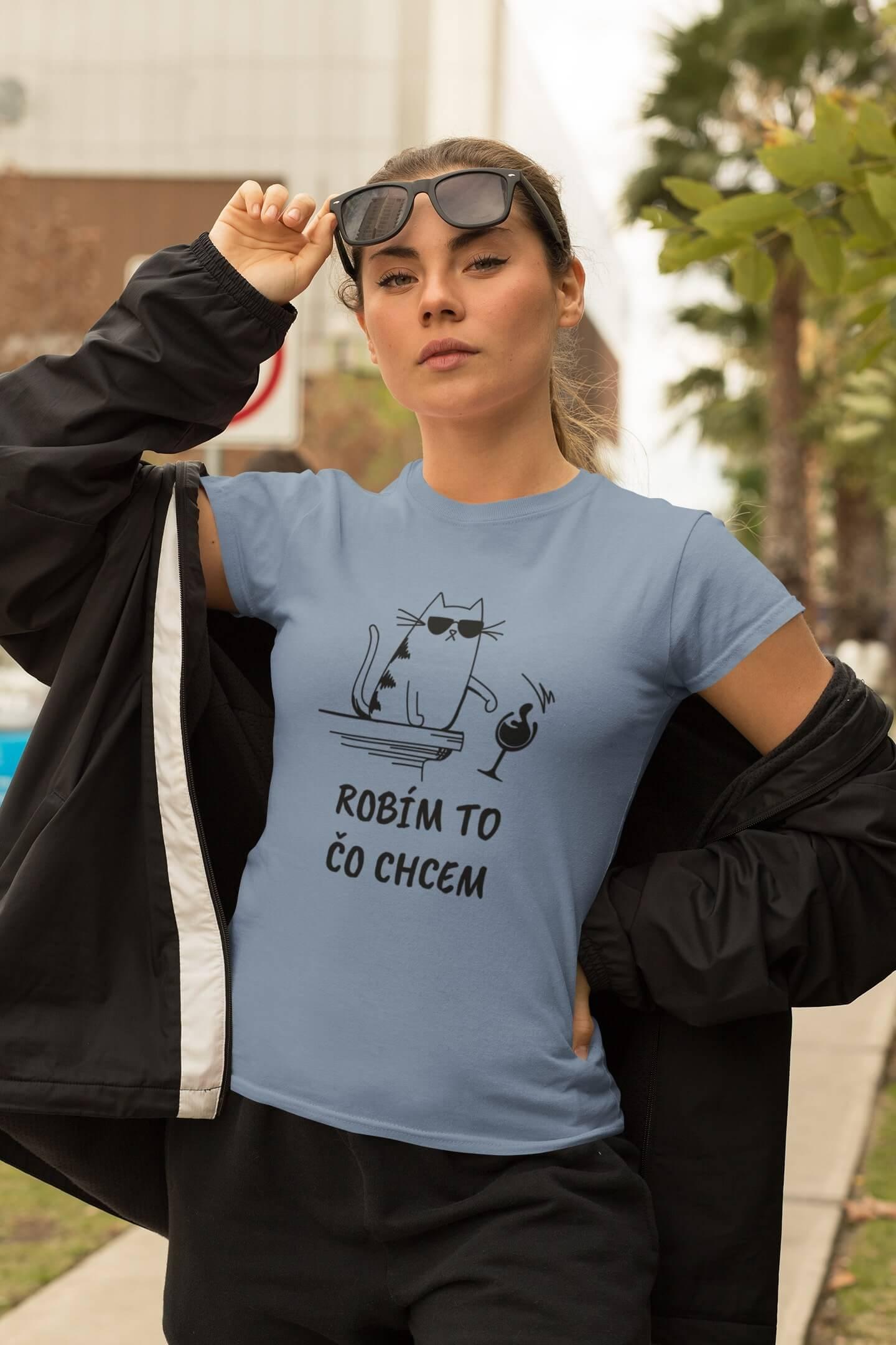 MMO Dámske tričko Robím to čo chcem víno Vyberte farbu:: Svetlomodrá, Dámska veľkosť: XL