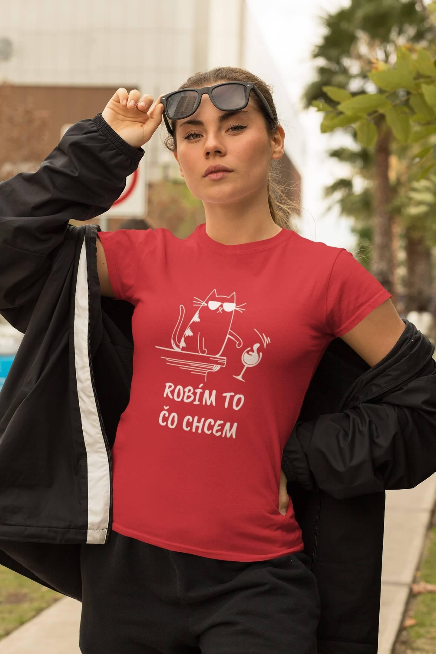 MMO Dámske tričko Robím to čo chcem víno Vyberte farbu:: Červená, Dámska veľkosť: XS