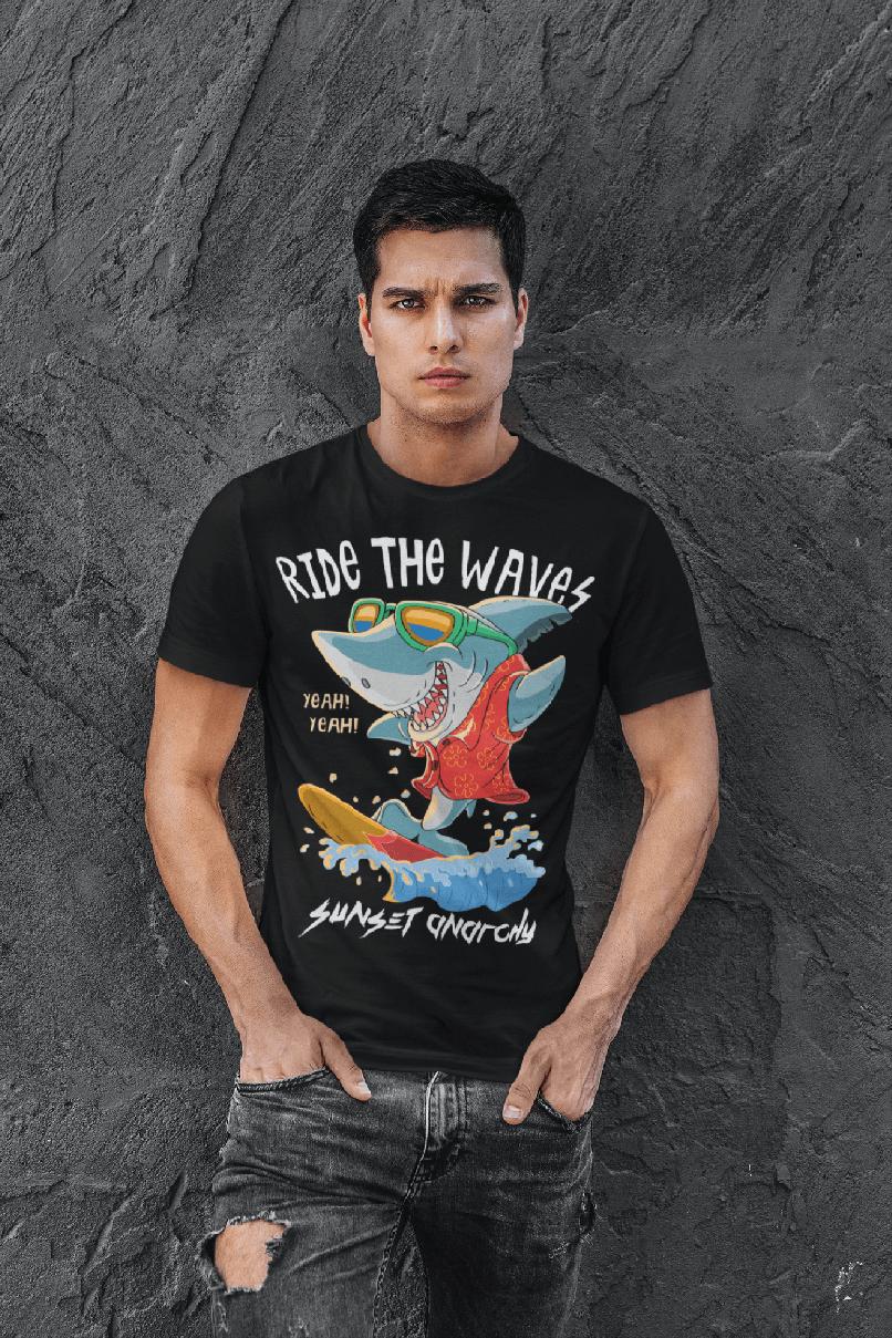 MMO Pánske tričko RIDE THE WAVES Vyberte farbu: Čierna, Vyberte veľkosť: XS