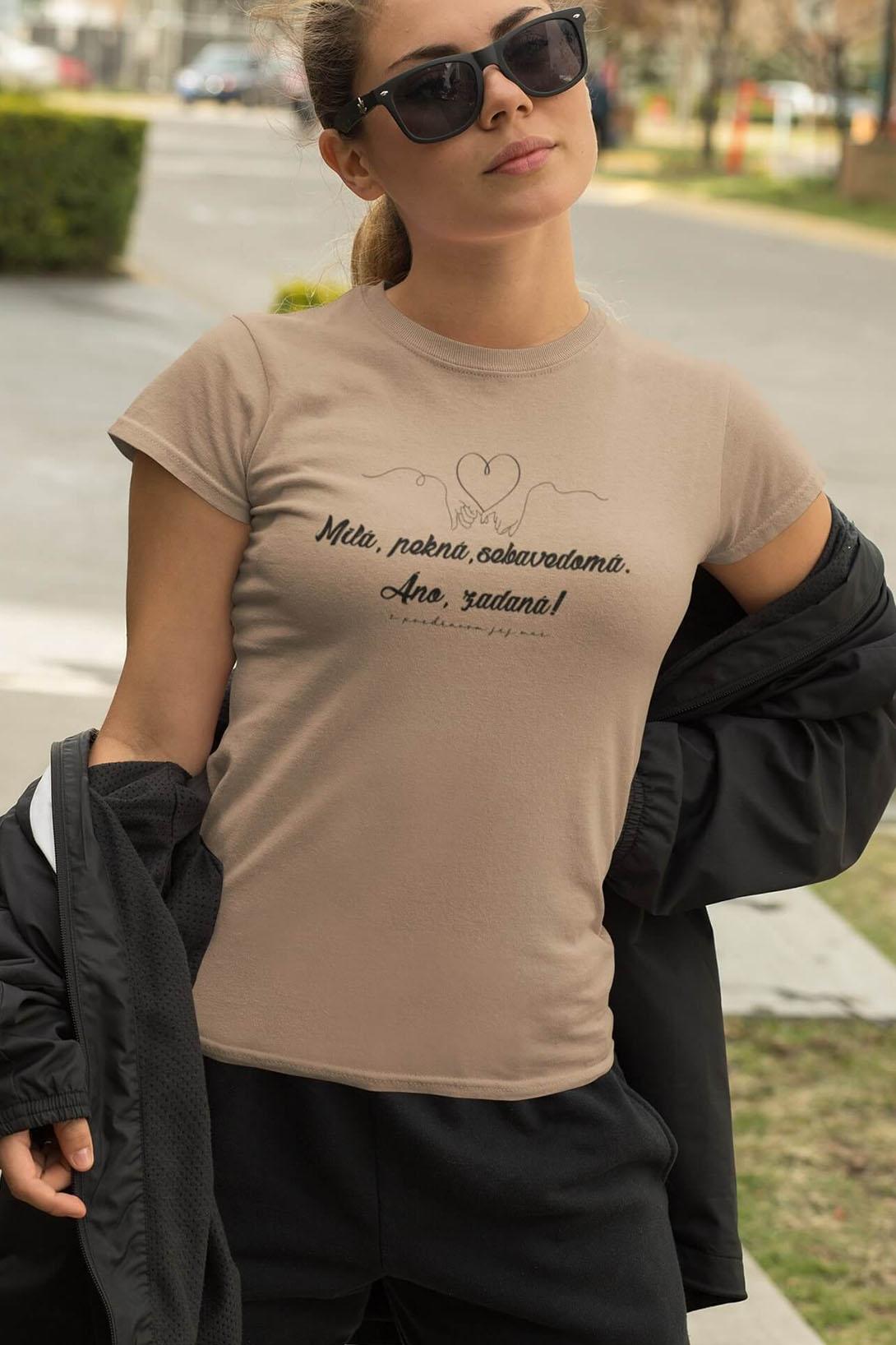 MMO Dámske tričko Milá, pekná, sebavedomá Vyberte farbu: Ružová, Vyberte veľkosť: M