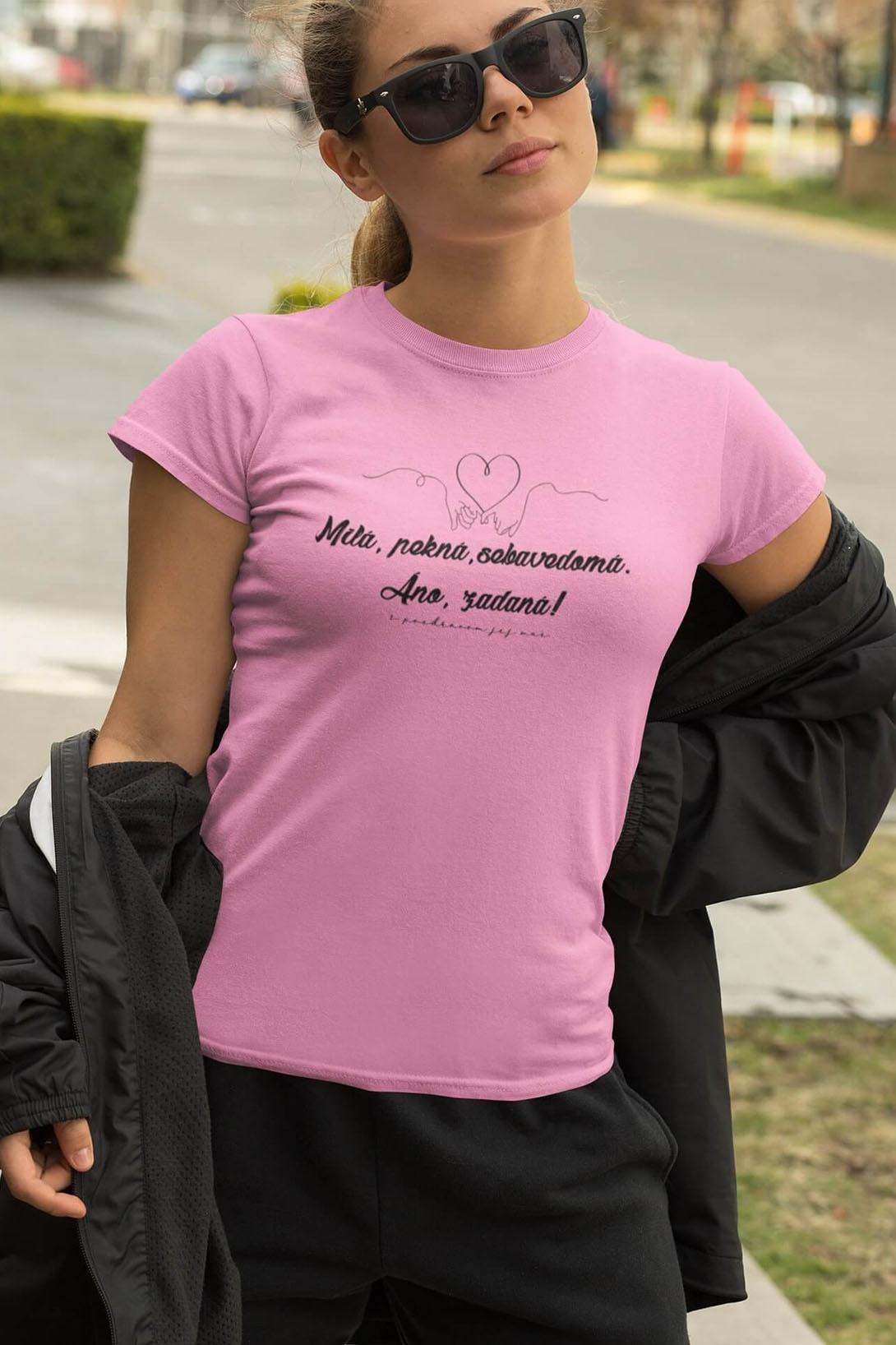 MMO Dámske tričko Milá, pekná, sebavedomá Vyberte farbu: Žltá, Vyberte veľkosť: M