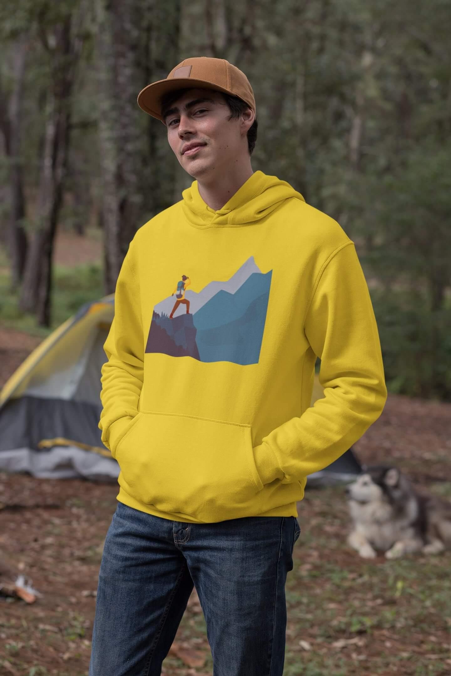 MMO Pánska mikina s kapucňou adventure Vyberte farbu: Žltá, Vyberte veľkosť: XL