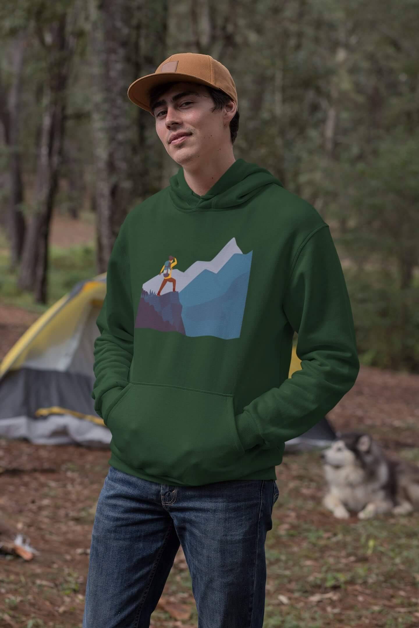 MMO Pánska mikina s kapucňou adventure Vyberte farbu: Fľaškovozelená, Vyberte veľkosť: XL