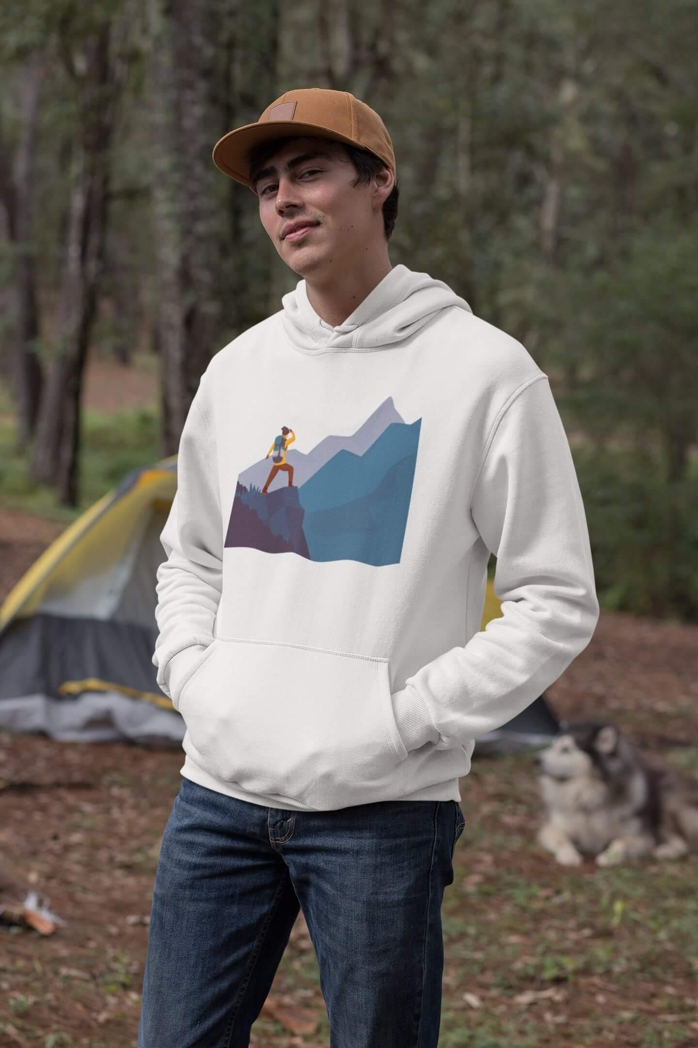 MMO Pánska mikina s kapucňou adventure Vyberte farbu: Biela, Vyberte veľkosť: XL
