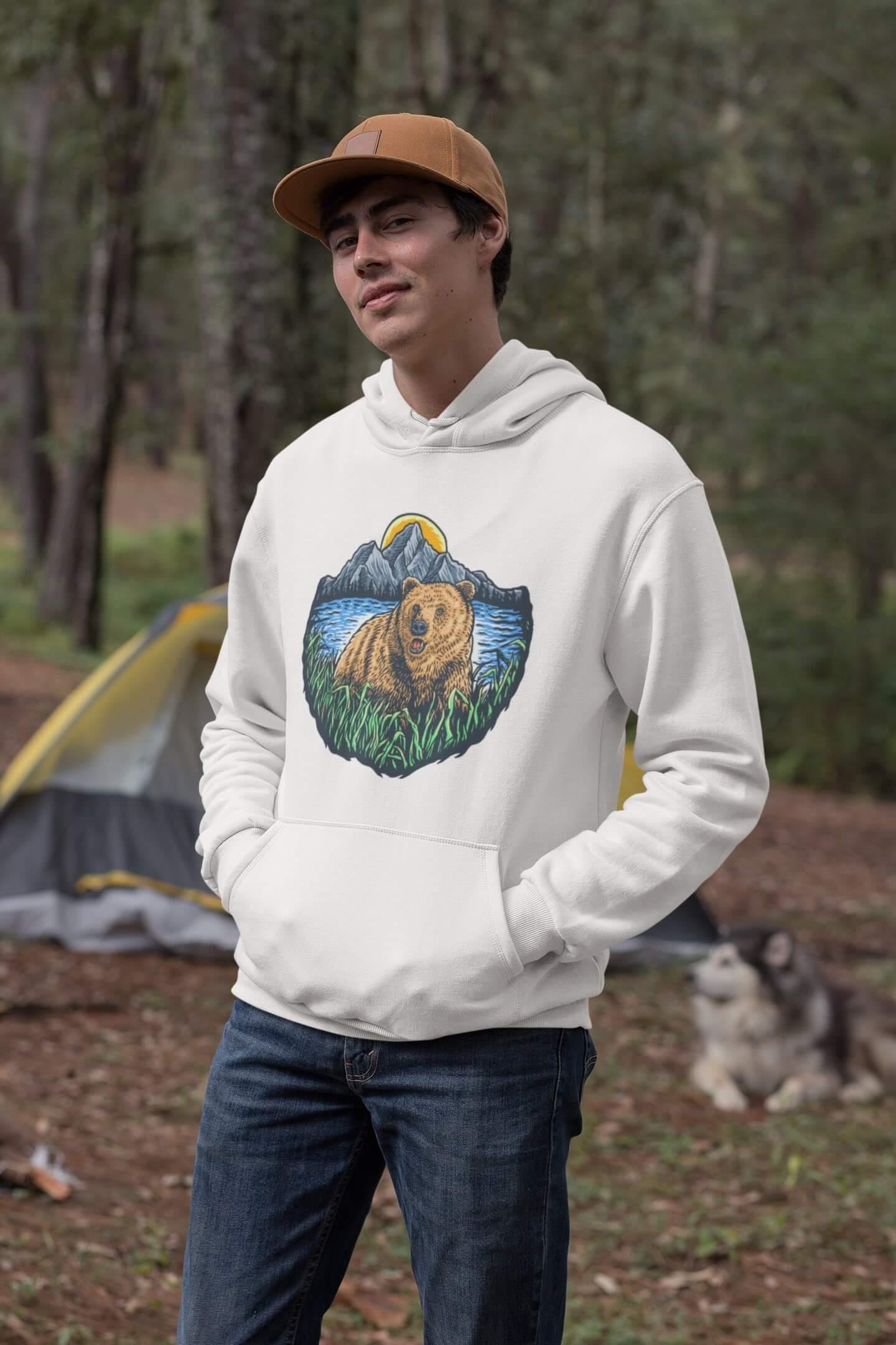 MMO Pánska mikina s kapucňou Bear Vyberte farbu: Biela, Vyberte veľkosť: M