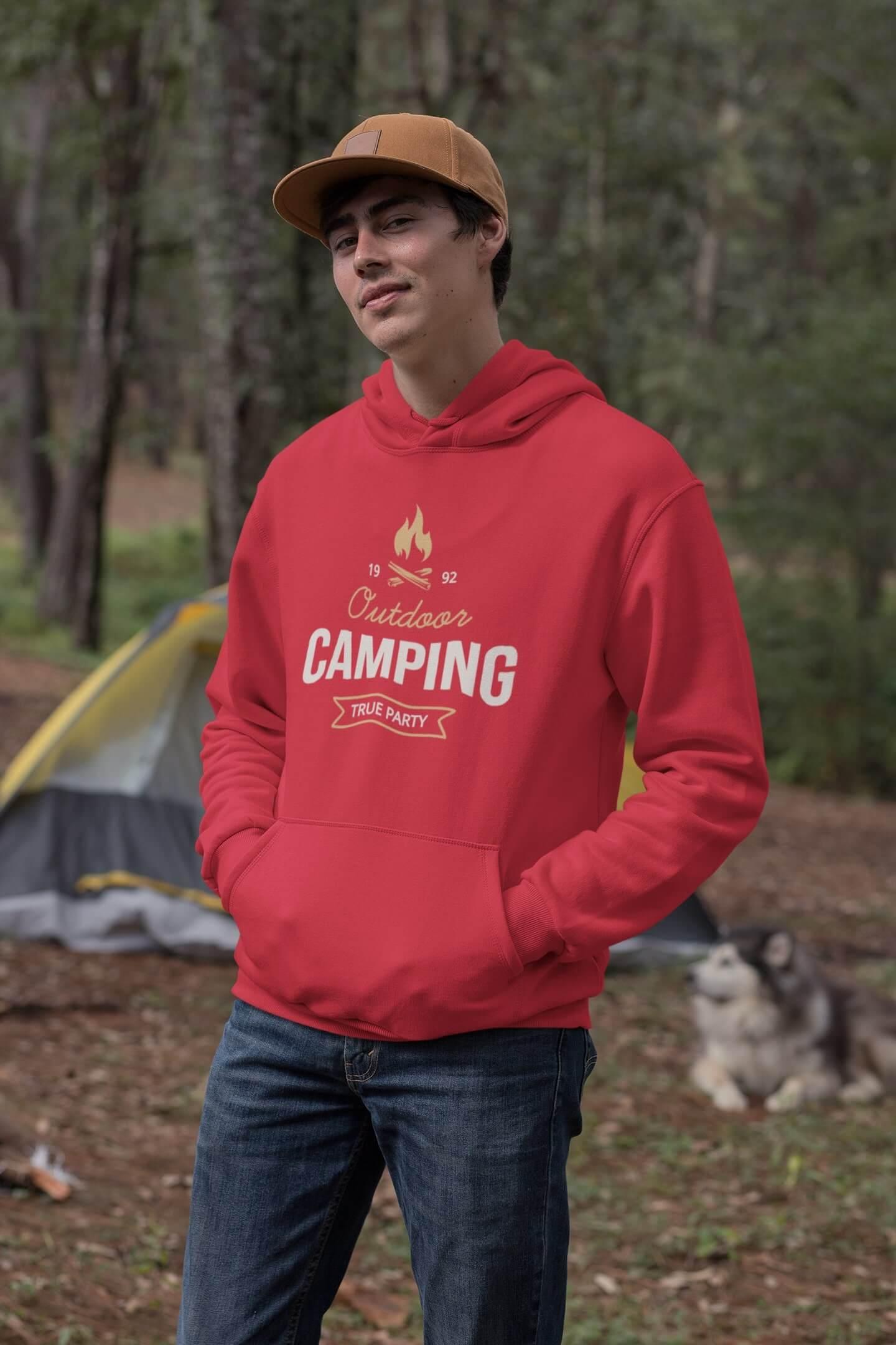 MMO Pánska mikina s kapucňou Camping Vyberte farbu: Červená, Vyberte veľkosť: M