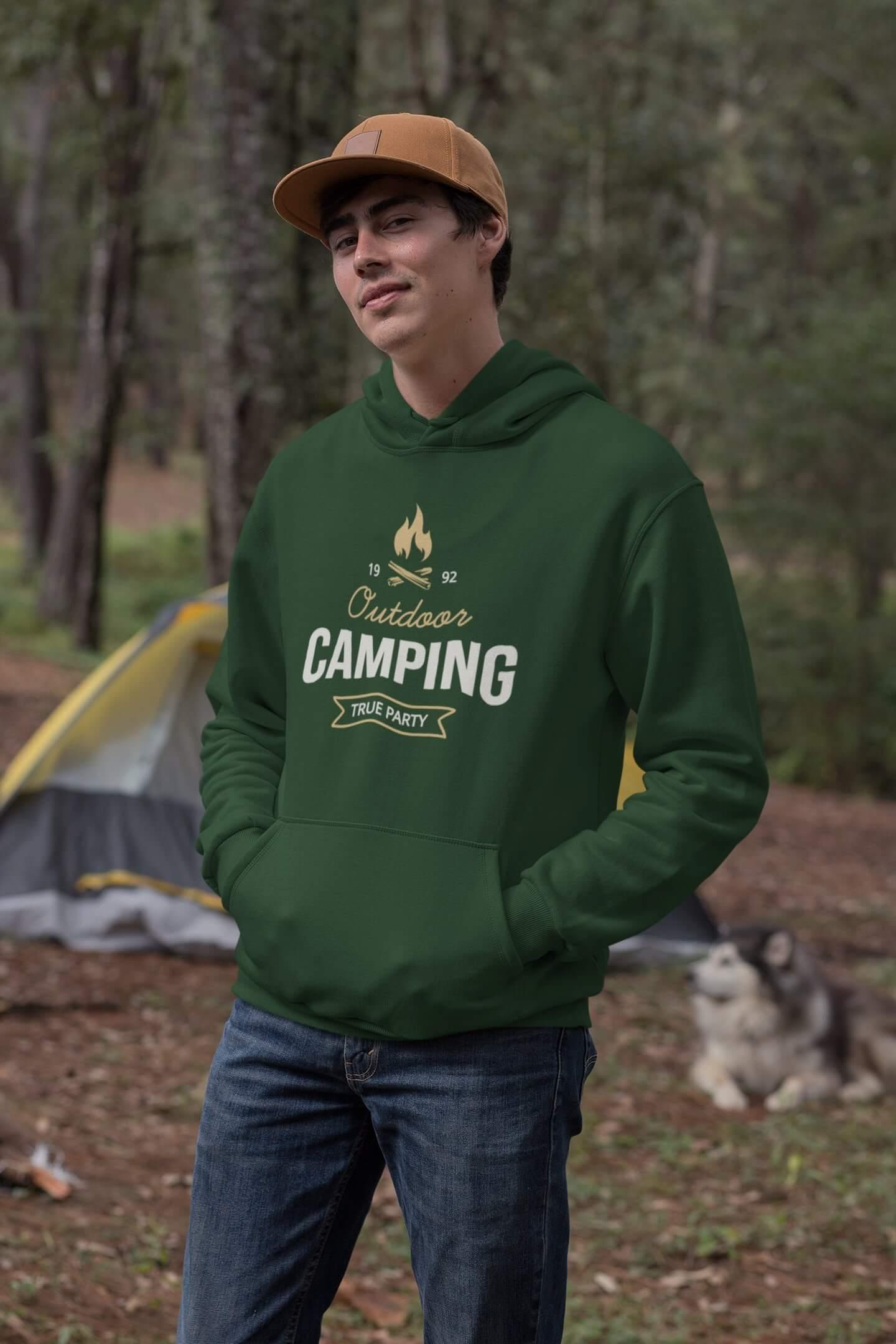 MMO Pánska mikina s kapucňou Camping Vyberte farbu: Fľaškovozelená, Vyberte veľkosť: M