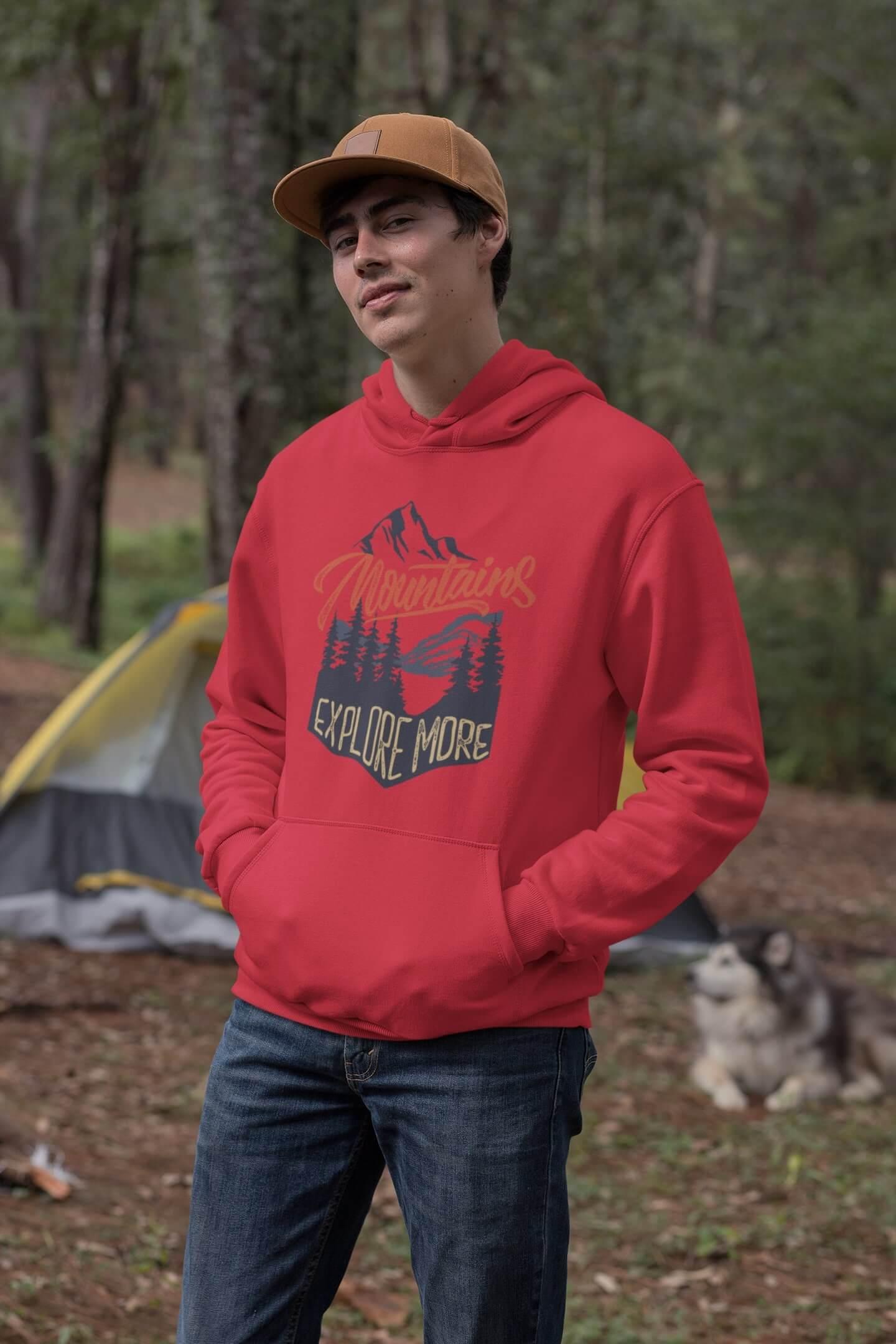 MMO Pánska mikina s kapucňou Mountains Vyberte farbu: Červená, Vyberte veľkosť: M