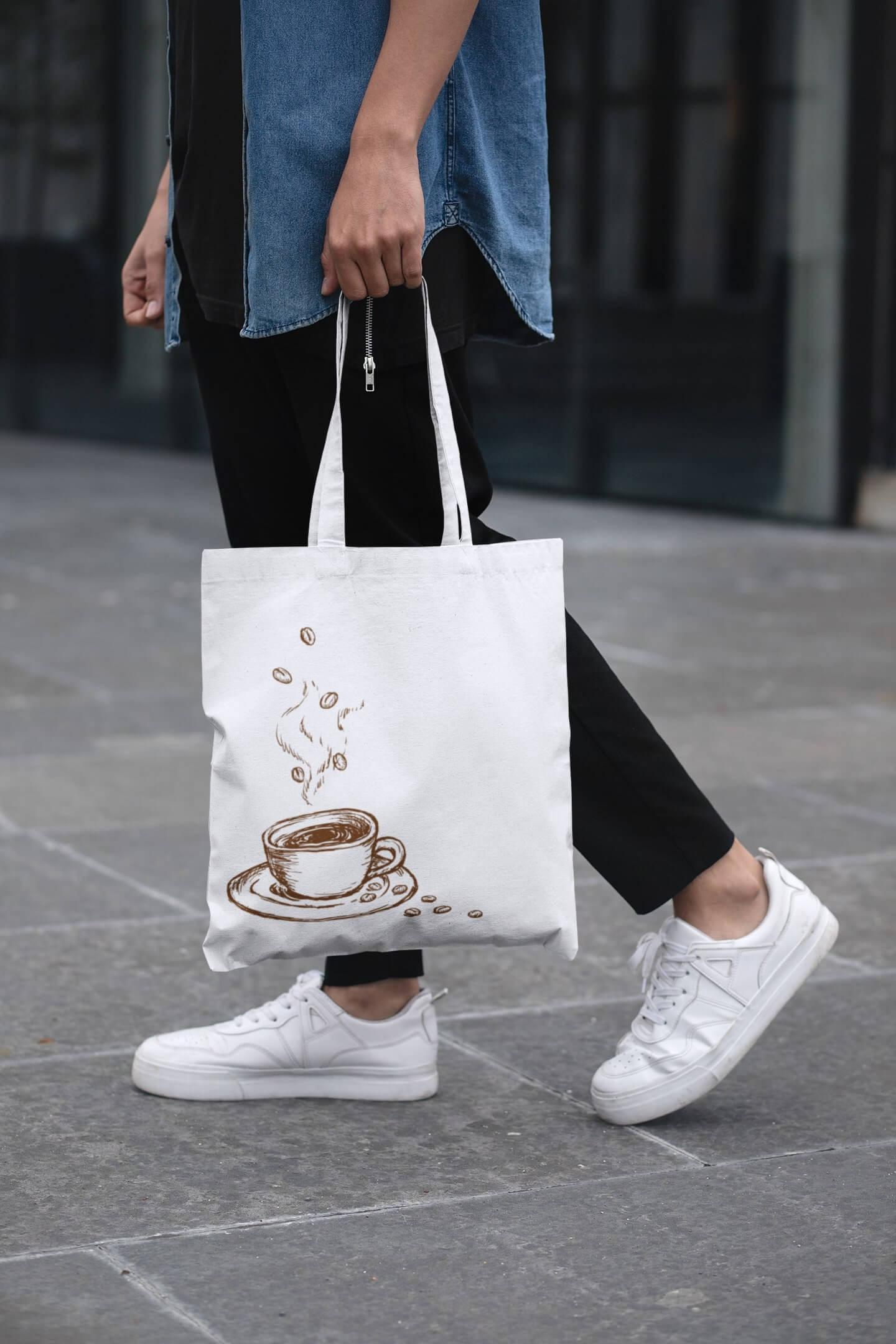 MMO Bavlnená taška Káva Farba tašky: Biela