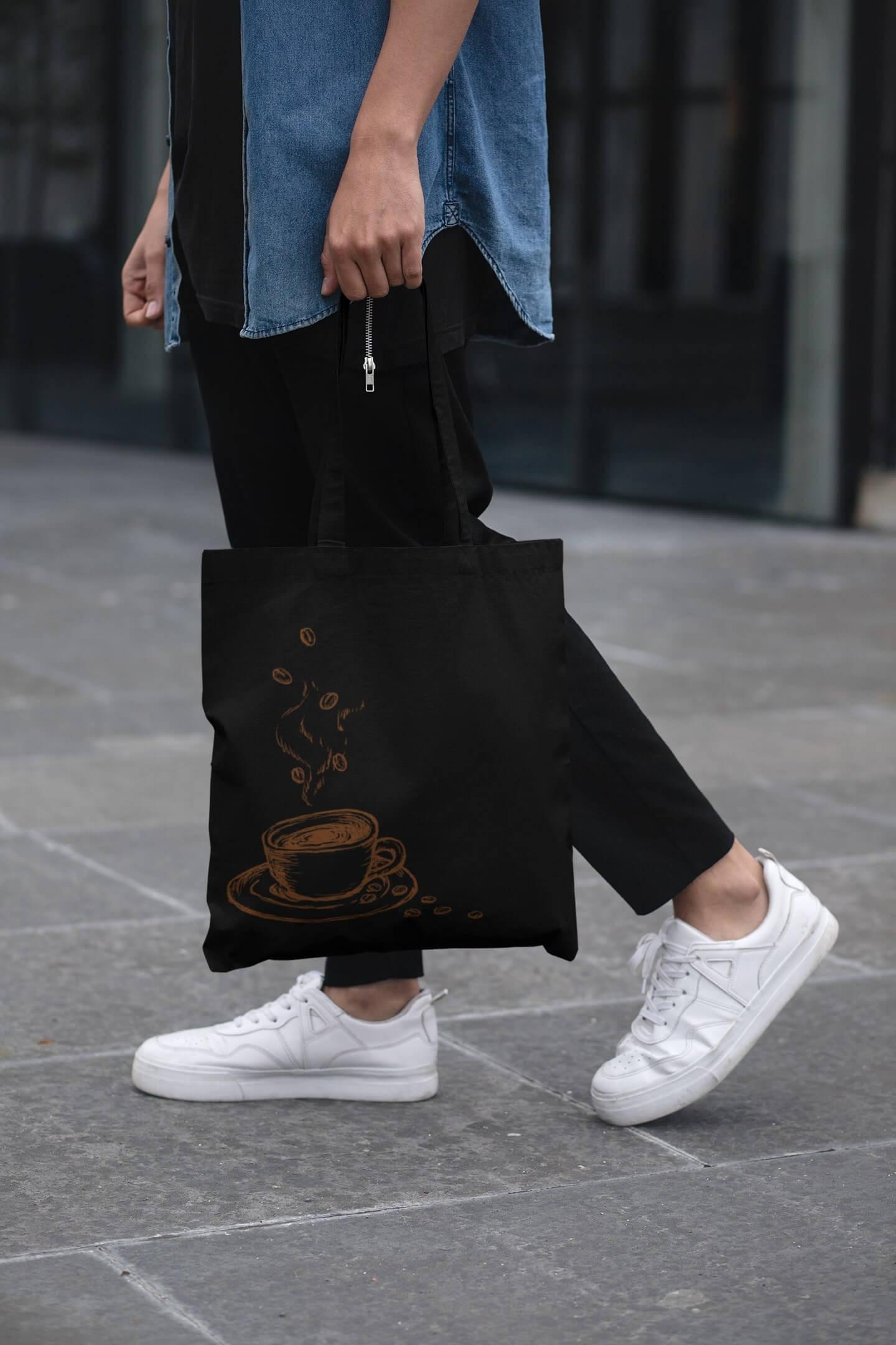 MMO Bavlnená taška Káva Farba tašky: Čierna