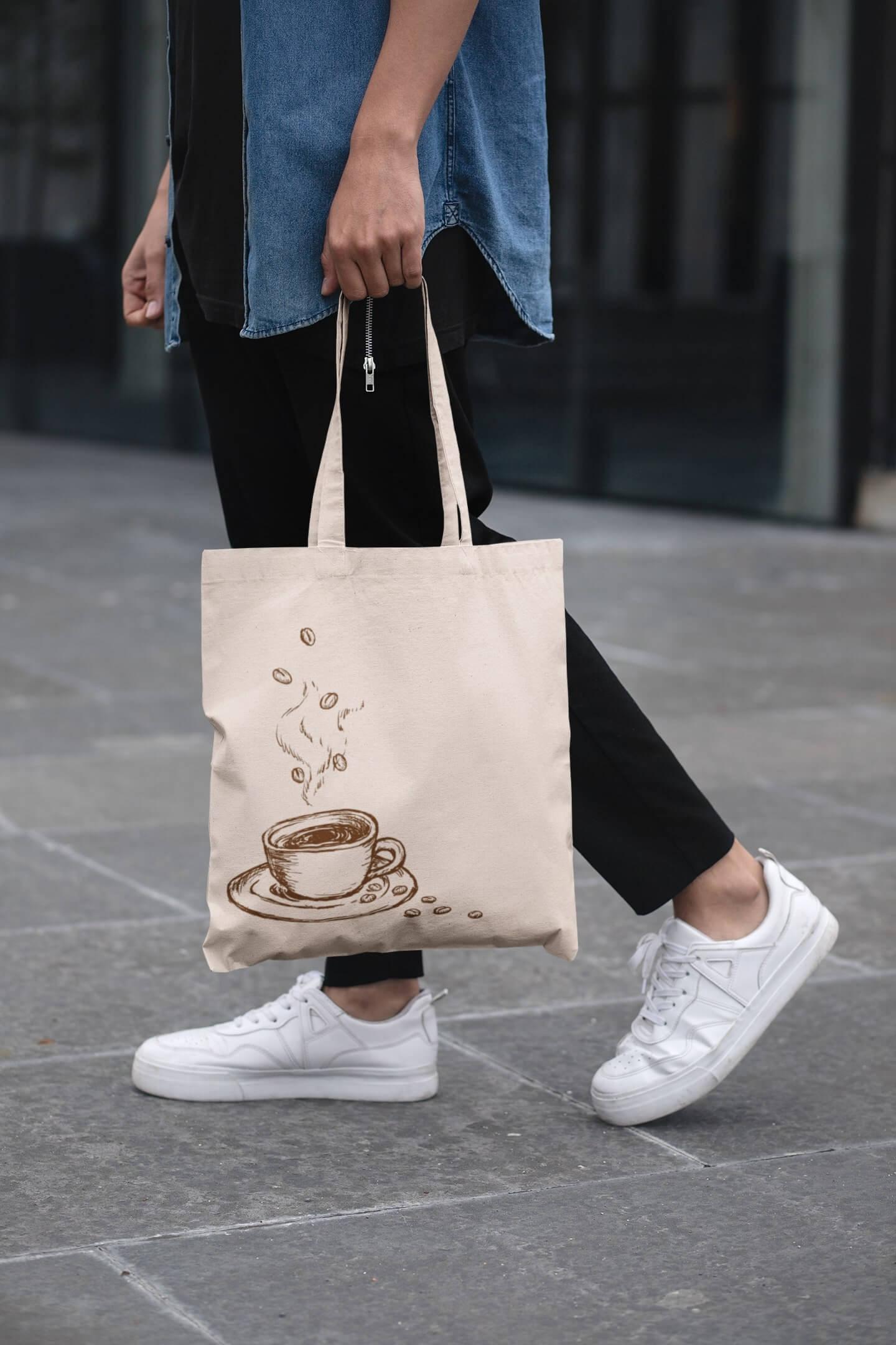 MMO Bavlnená taška Káva Farba tašky: Béžová