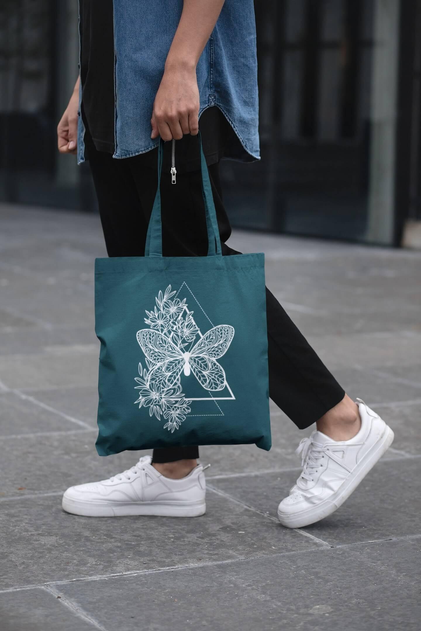 MMO Bavlnená taška Motýľ Farba tašky: Petrolejová
