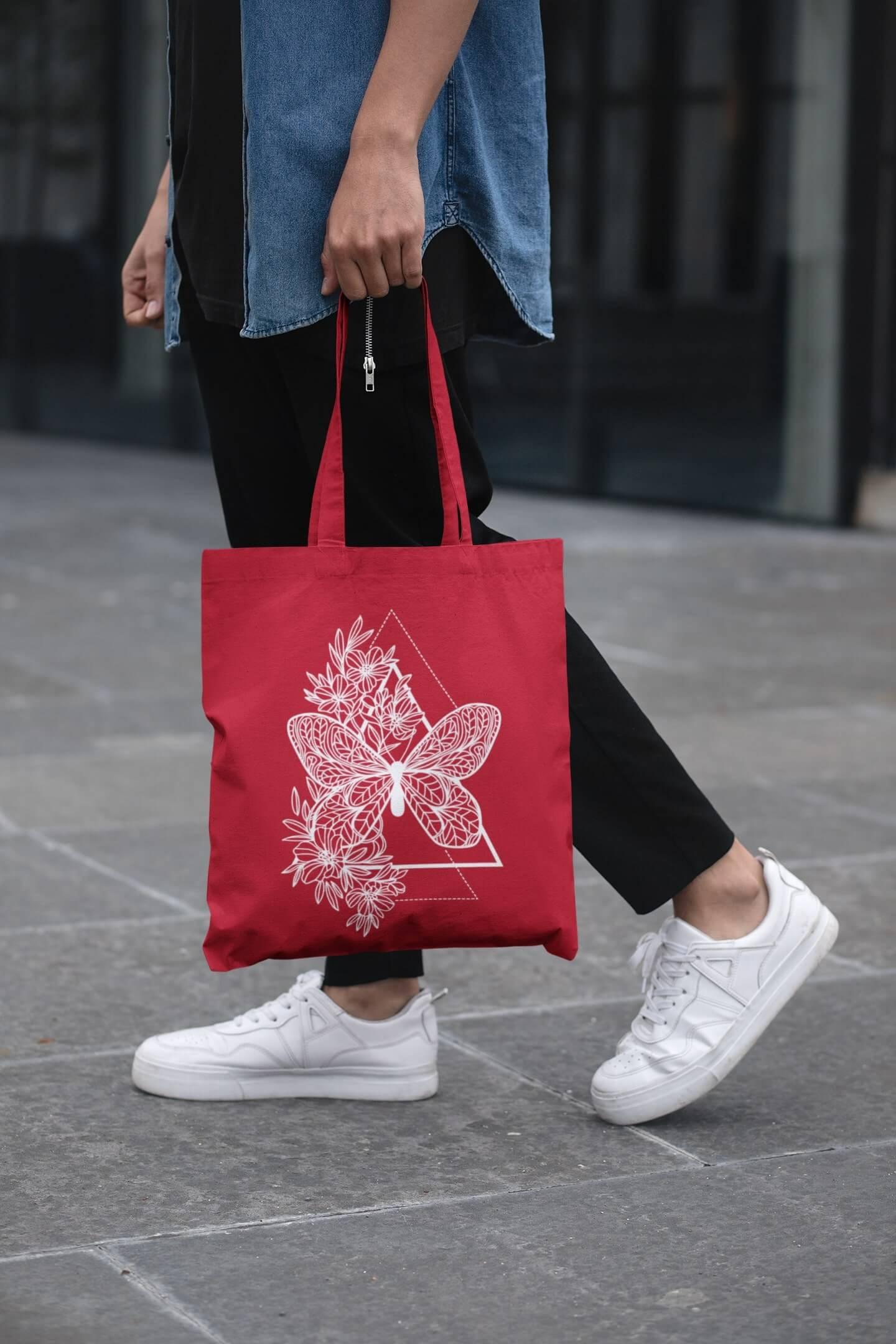 MMO Bavlnená taška Motýľ Farba tašky: Červená