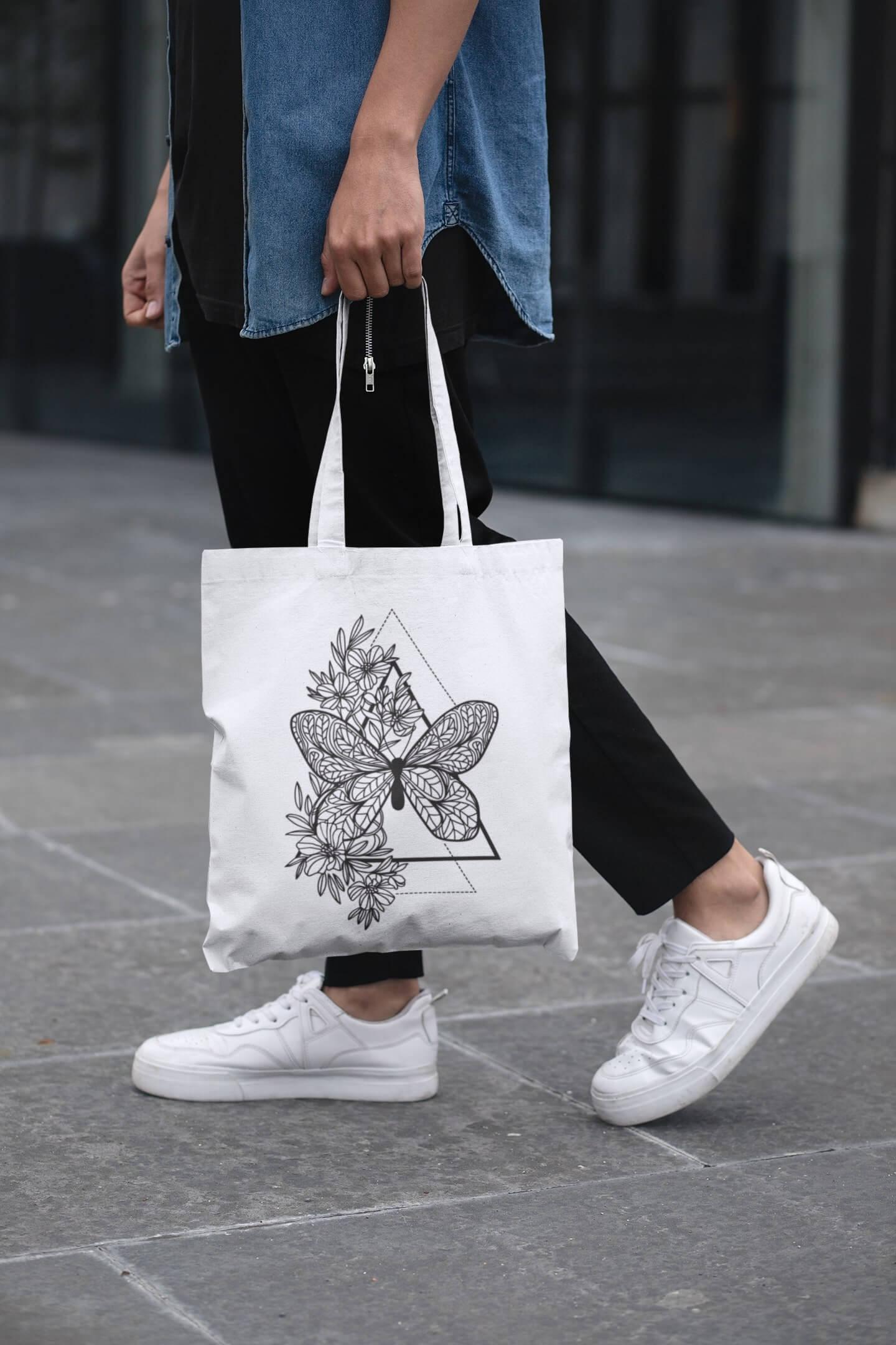 MMO Bavlnená taška Motýľ Farba tašky: Biela