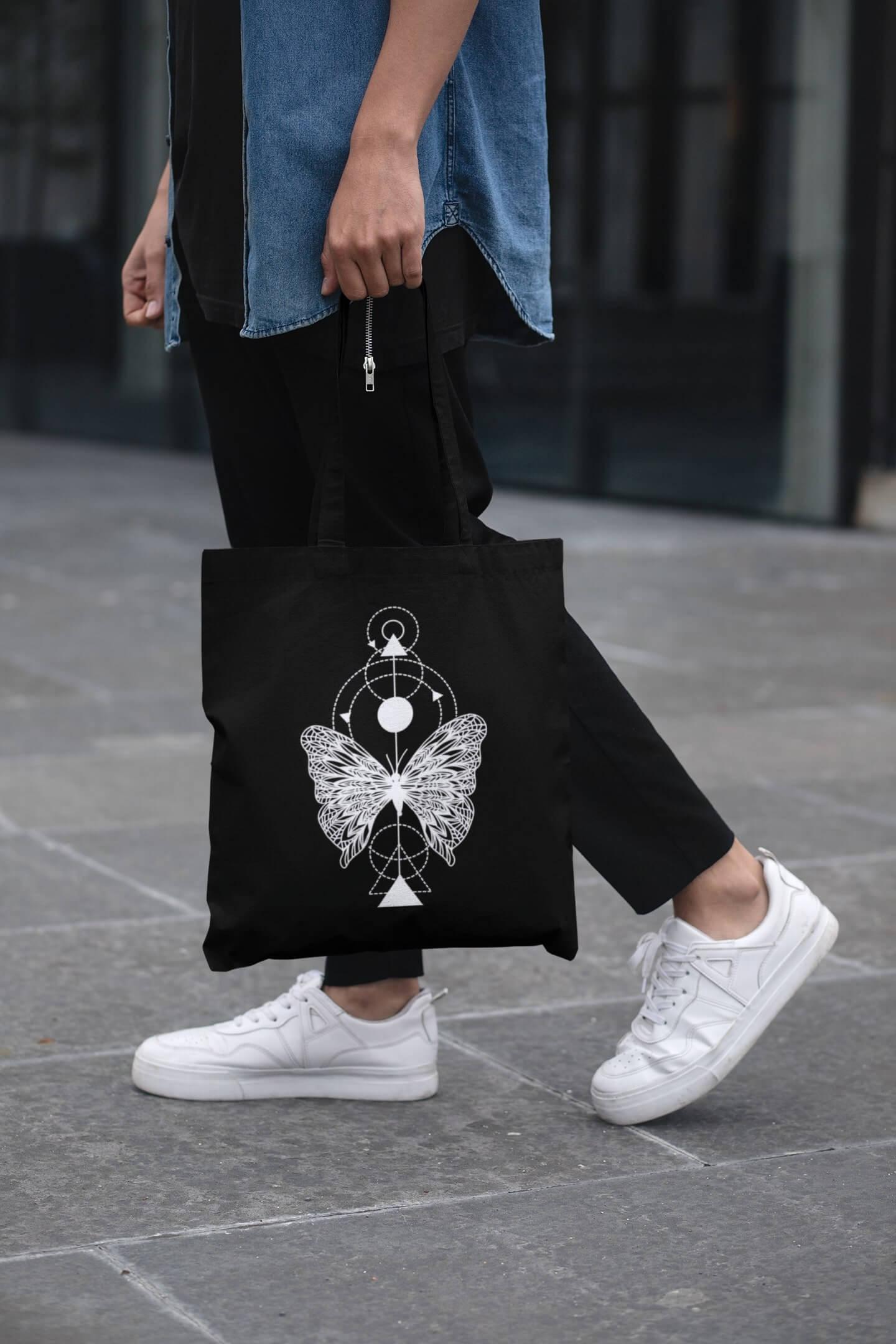 MMO Bavlnená taška Motýľ Farba tašky: Čierna