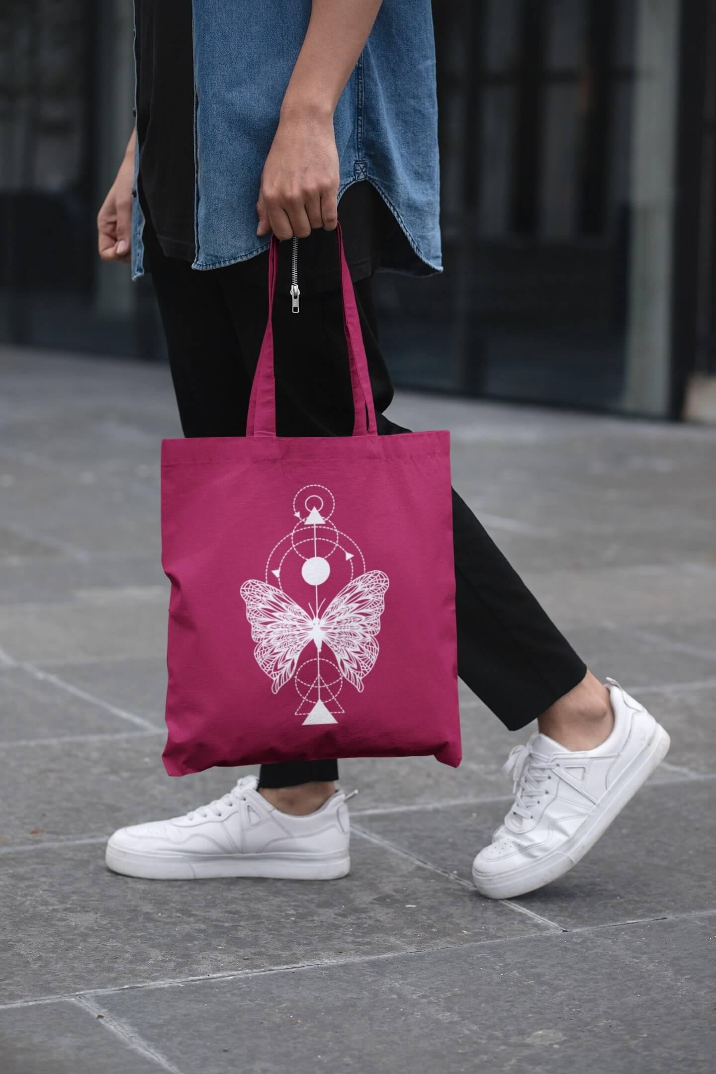 MMO Bavlnená taška Motýľ Farba tašky: Malinová