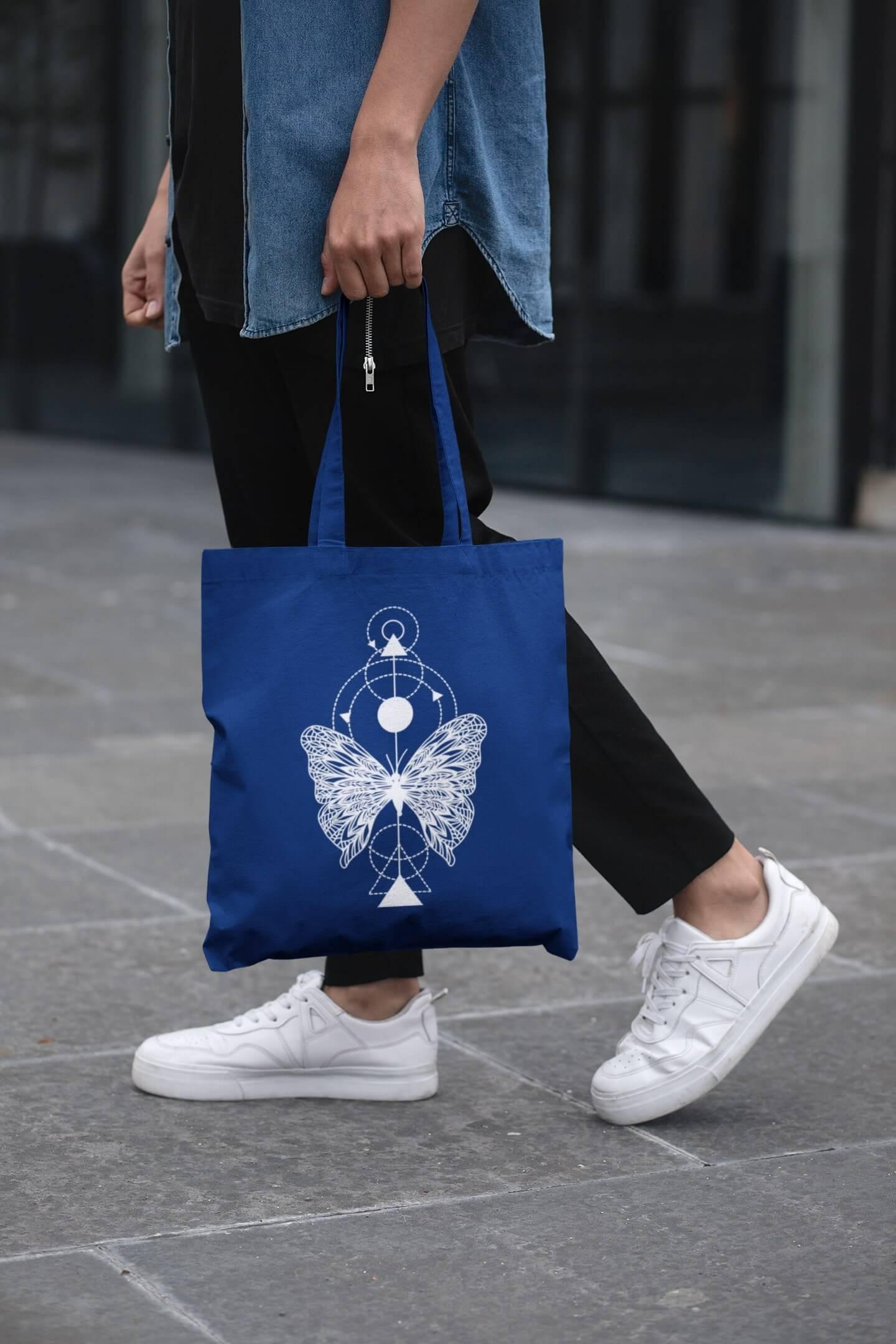 MMO Bavlnená taška Motýľ Farba tašky: Kráľovská modrá