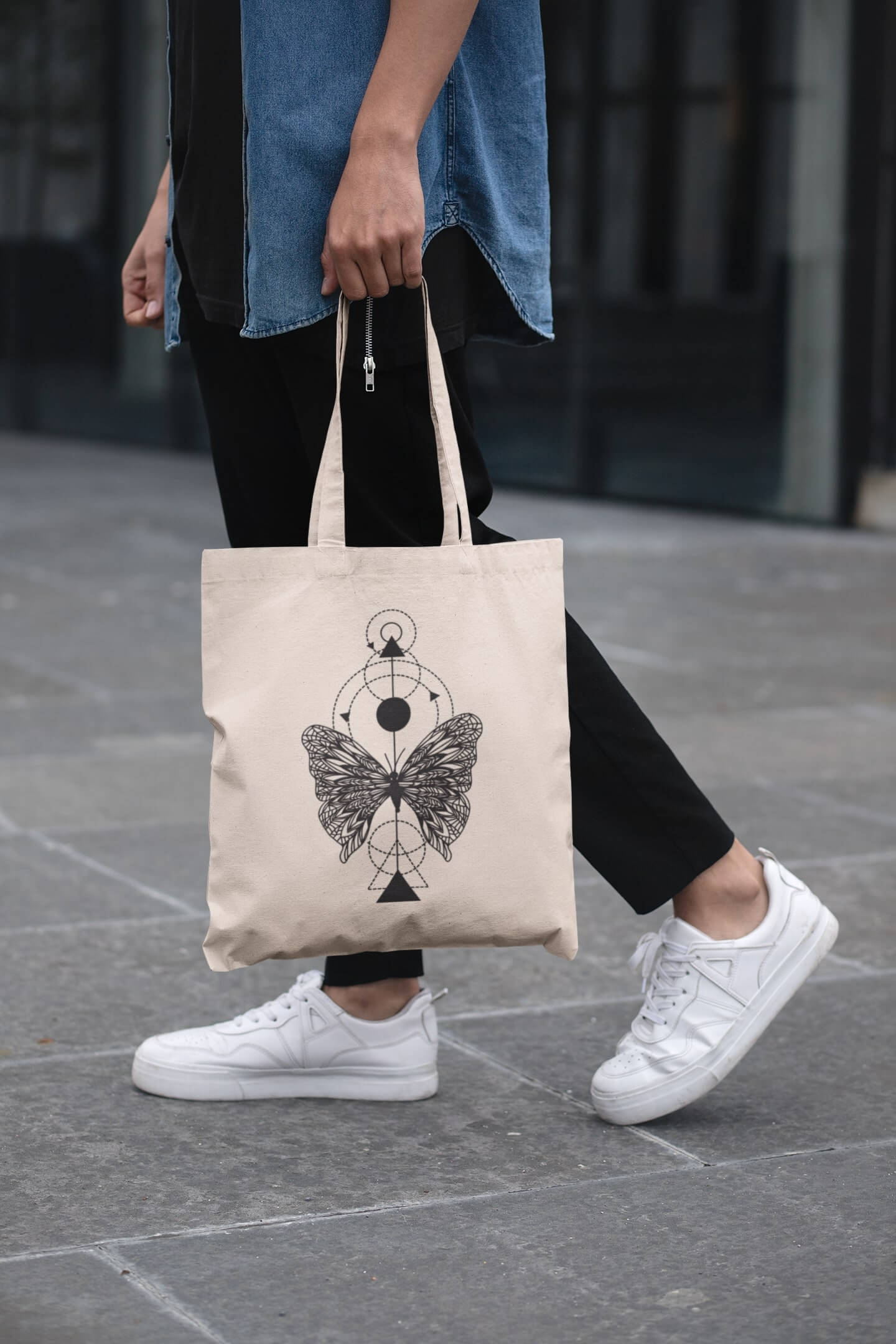 MMO Bavlnená taška Motýľ Farba tašky: Béžová