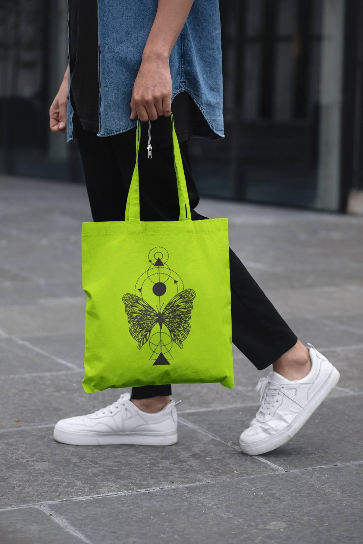 MMO Bavlnená taška Motýľ Farba tašky: Limetková