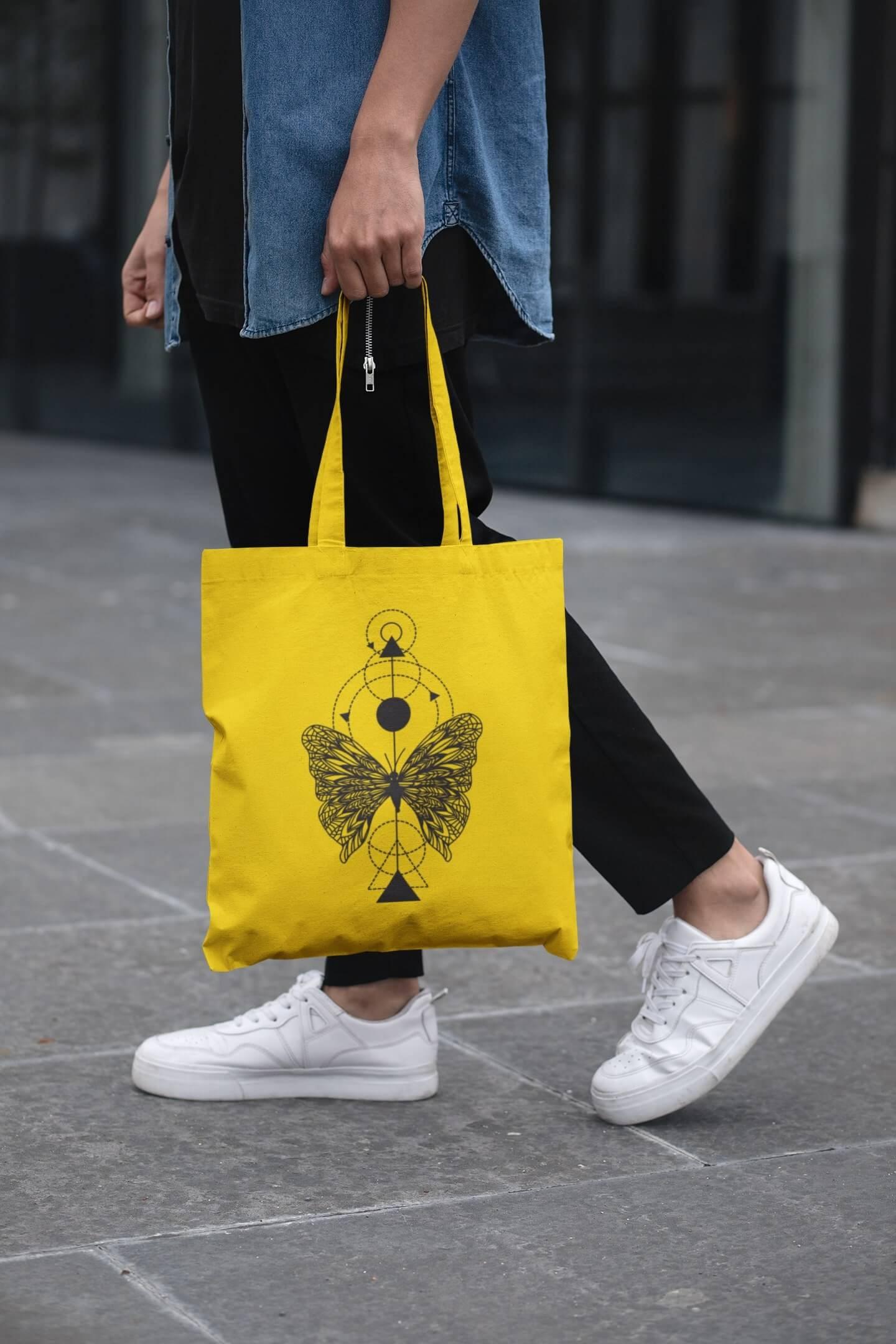 MMO Bavlnená taška Motýľ Farba tašky: Žltá