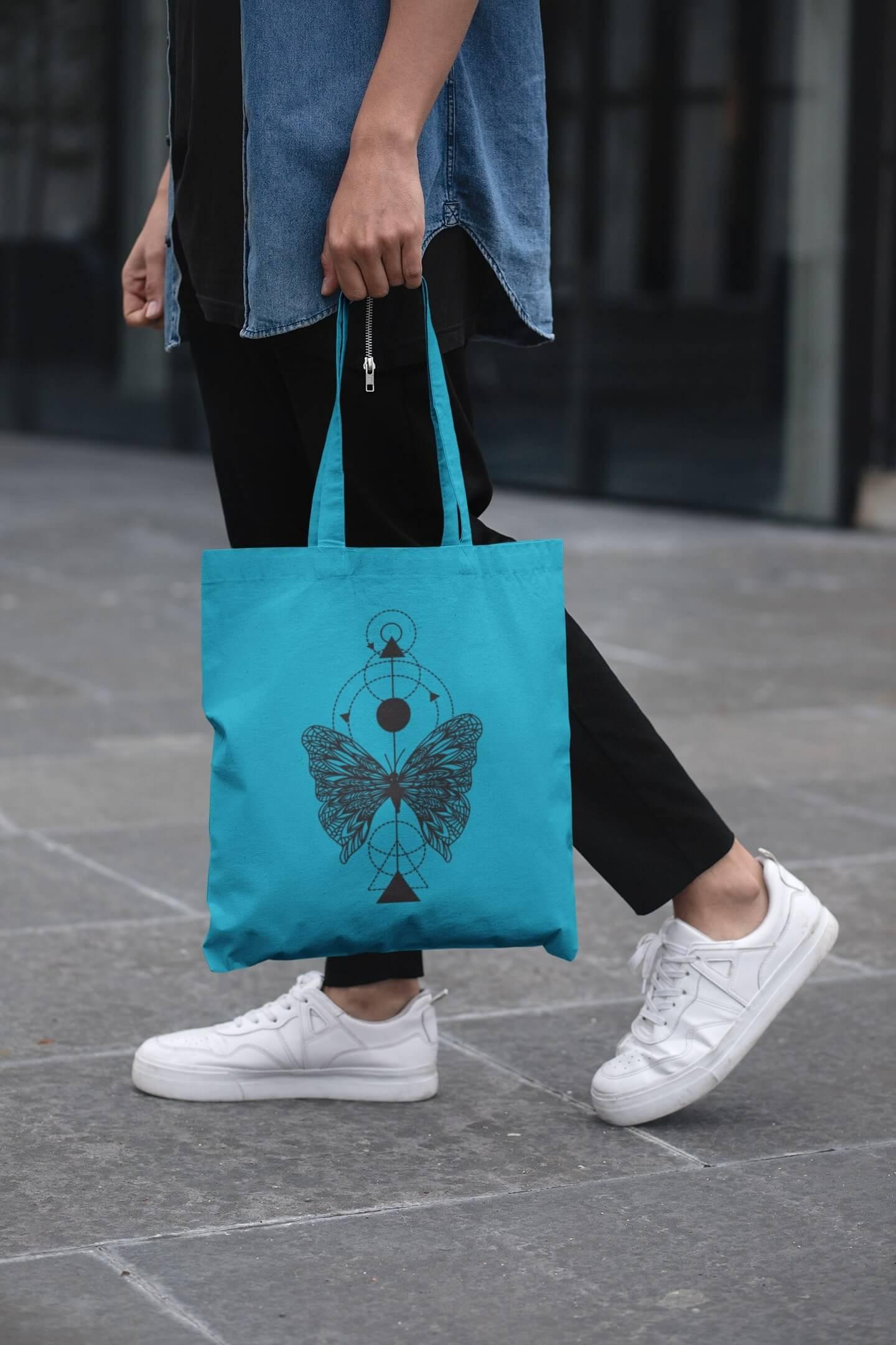 MMO Bavlnená taška Motýľ Farba tašky: Tyrkysová
