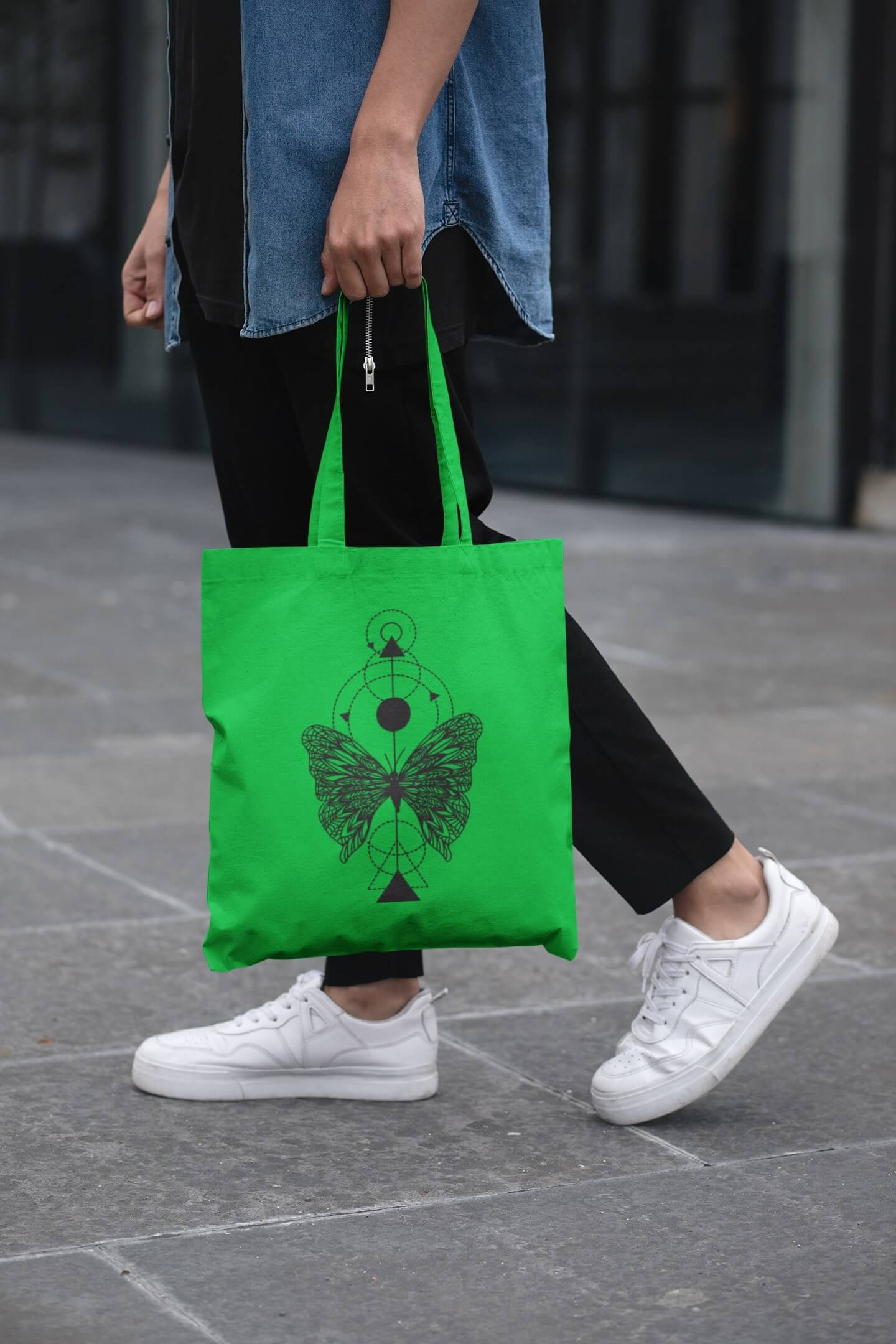 MMO Bavlnená taška Motýľ Farba tašky: Jablková