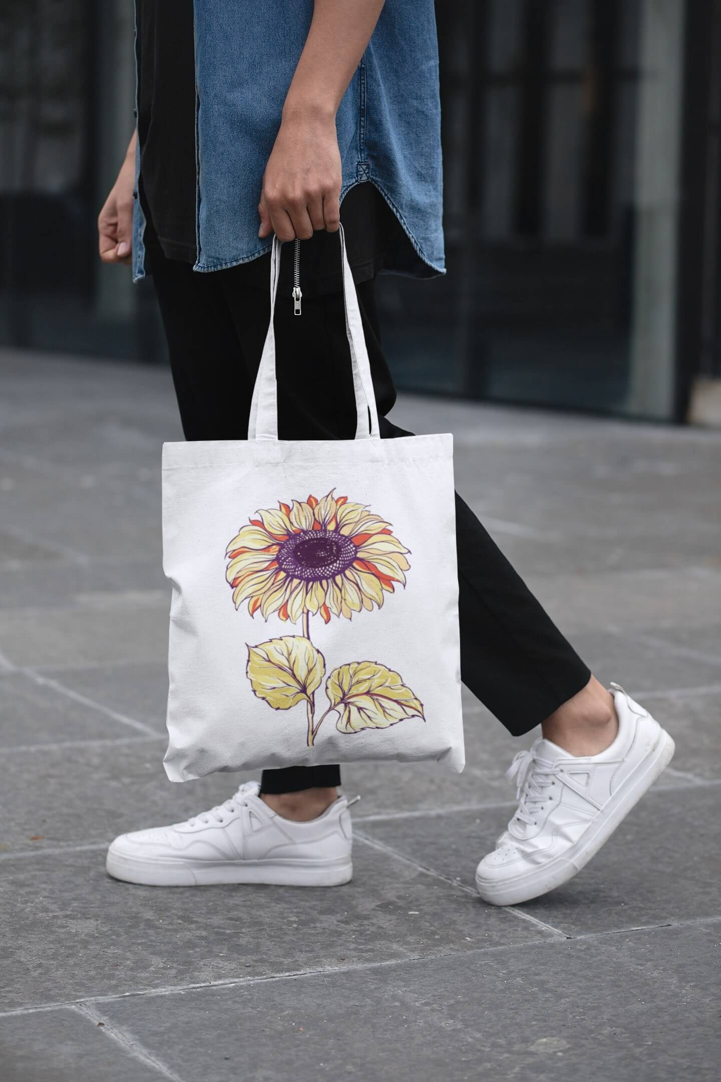 MMO Bavlnená taška Slnečnica Farba tašky: Biela