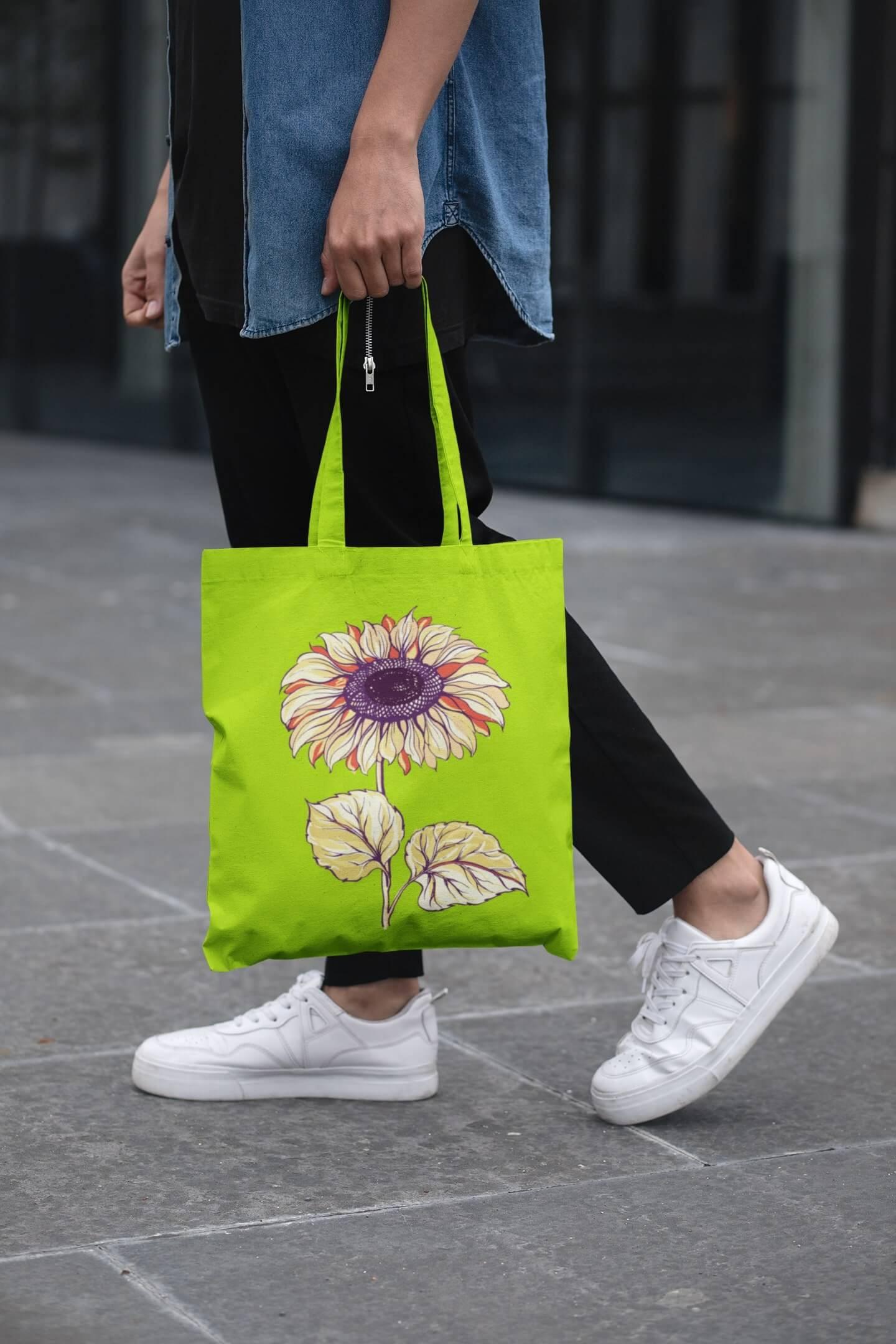 MMO Bavlnená taška Slnečnica Farba tašky: Limetková