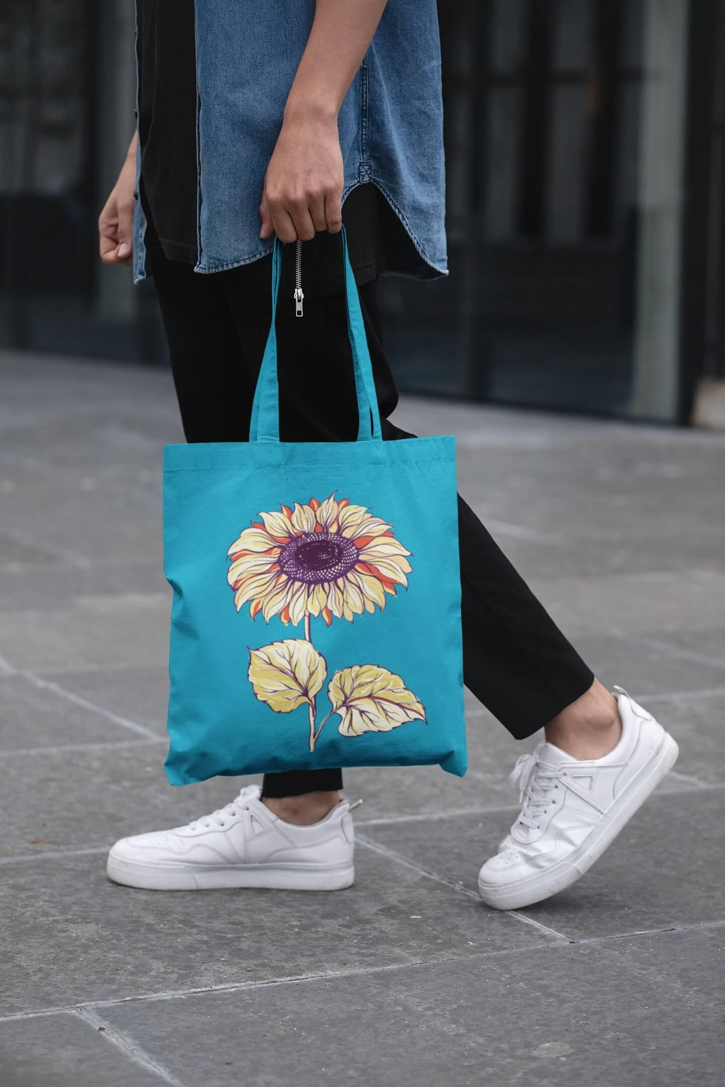 MMO Bavlnená taška Slnečnica Farba tašky: Tyrkysová