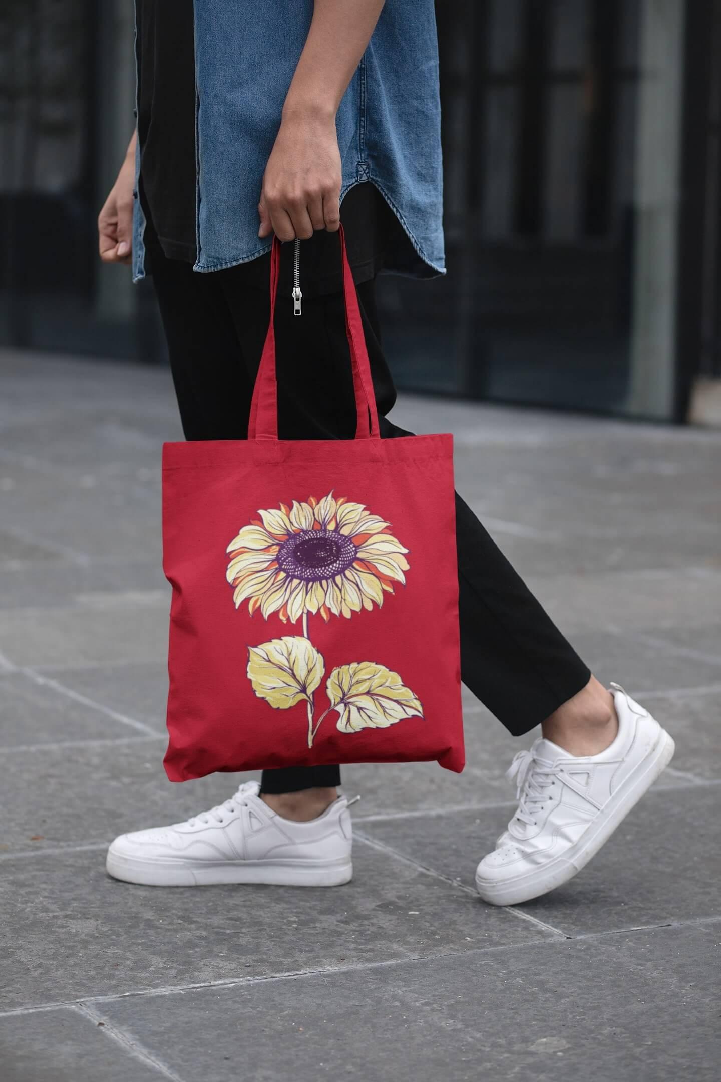 MMO Bavlnená taška Slnečnica Farba tašky: Červená