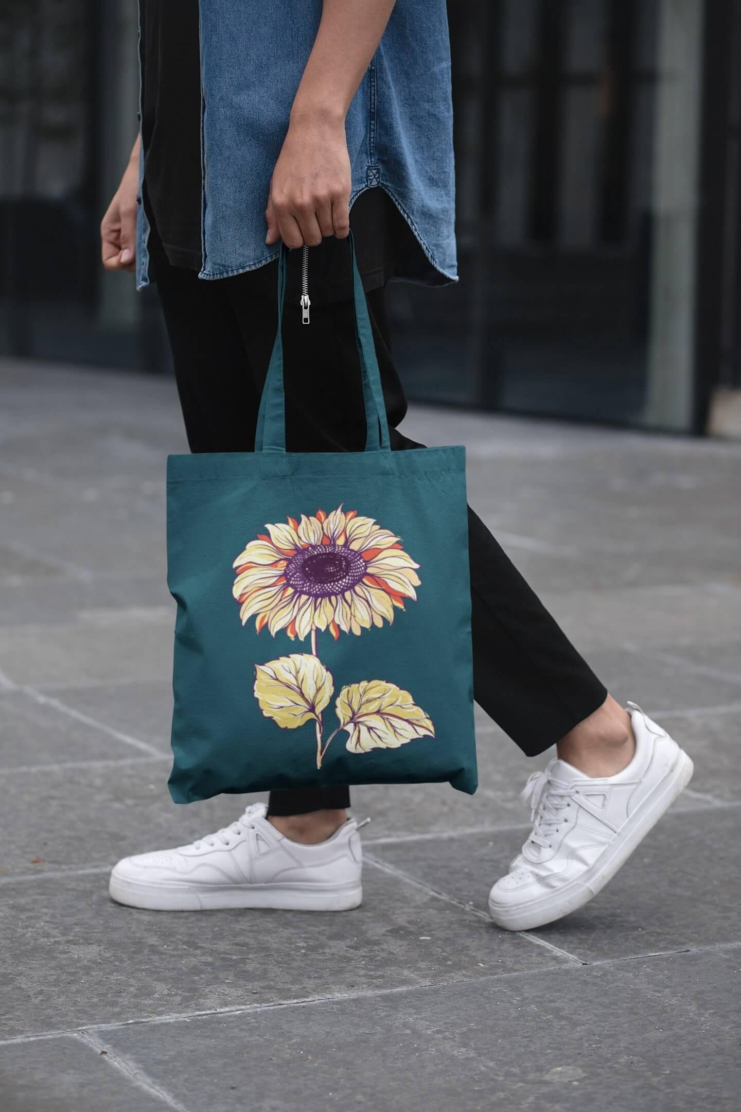 MMO Bavlnená taška Slnečnica Farba tašky: Petrolejová
