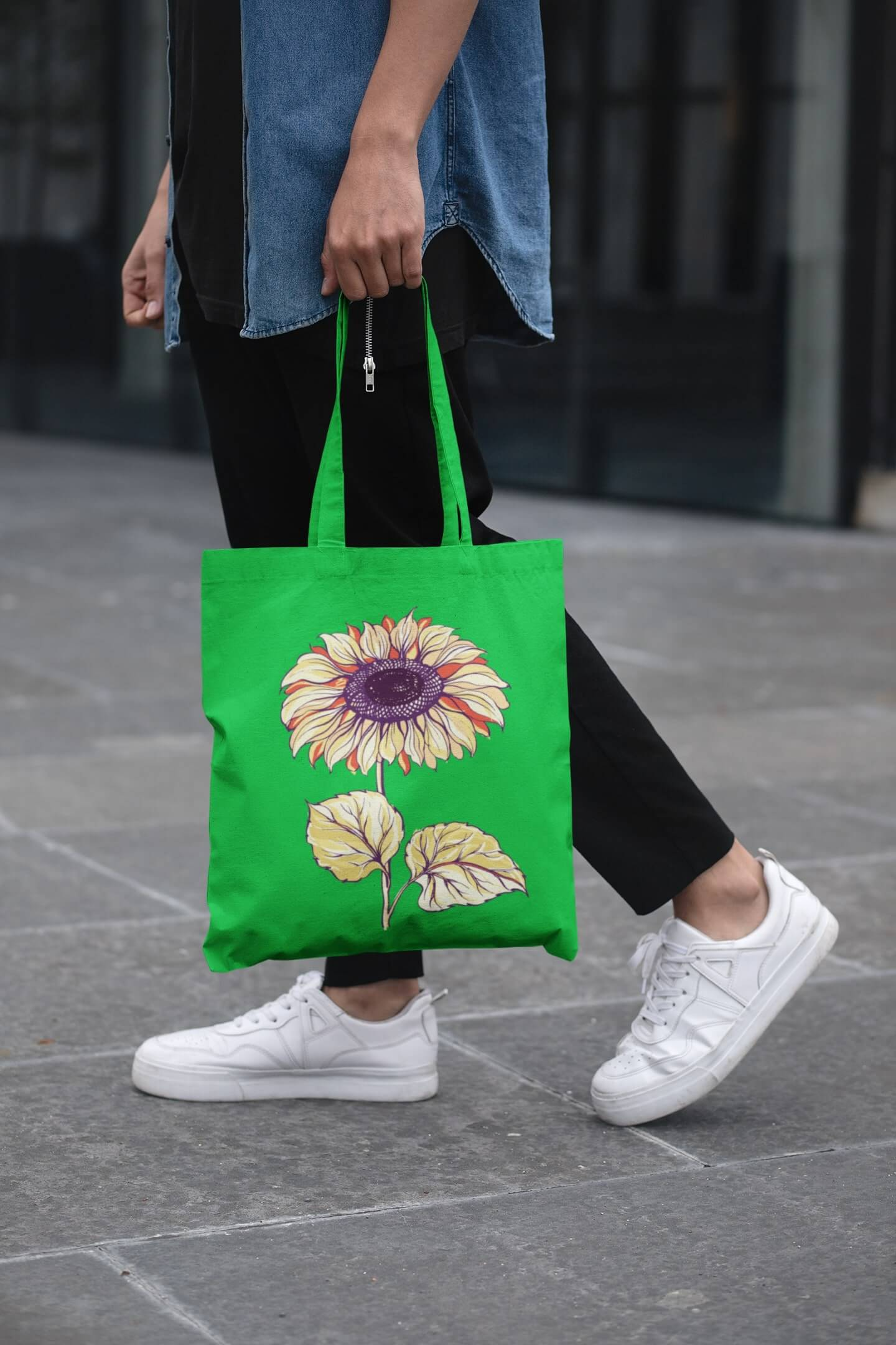 MMO Bavlnená taška Slnečnica Farba tašky: Jablková